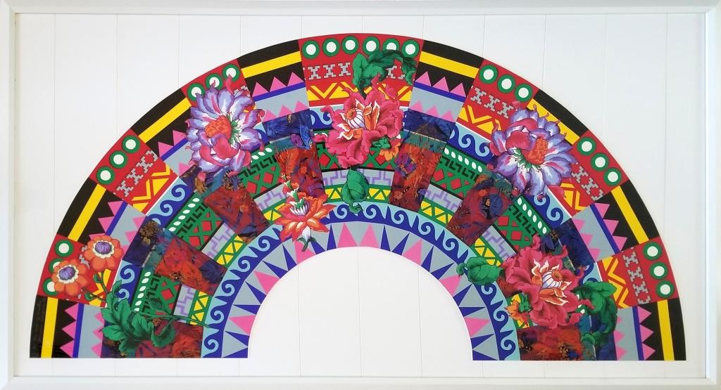 "Miriam Schapiro's collage fabric & screen-print on rag paper, ""In the Heat of Winter"" Fan"