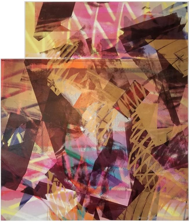 """Sam Gilliam's mixed media monoprint """"Dakota Beach"""""""