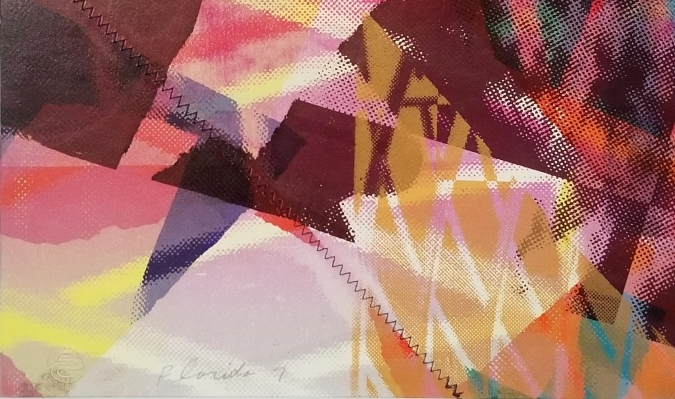 "Detail from Sam Gilliam's mixed media monoprint ""Florida 7"" showing the Berghoff-Cowden editions embossed stamp"