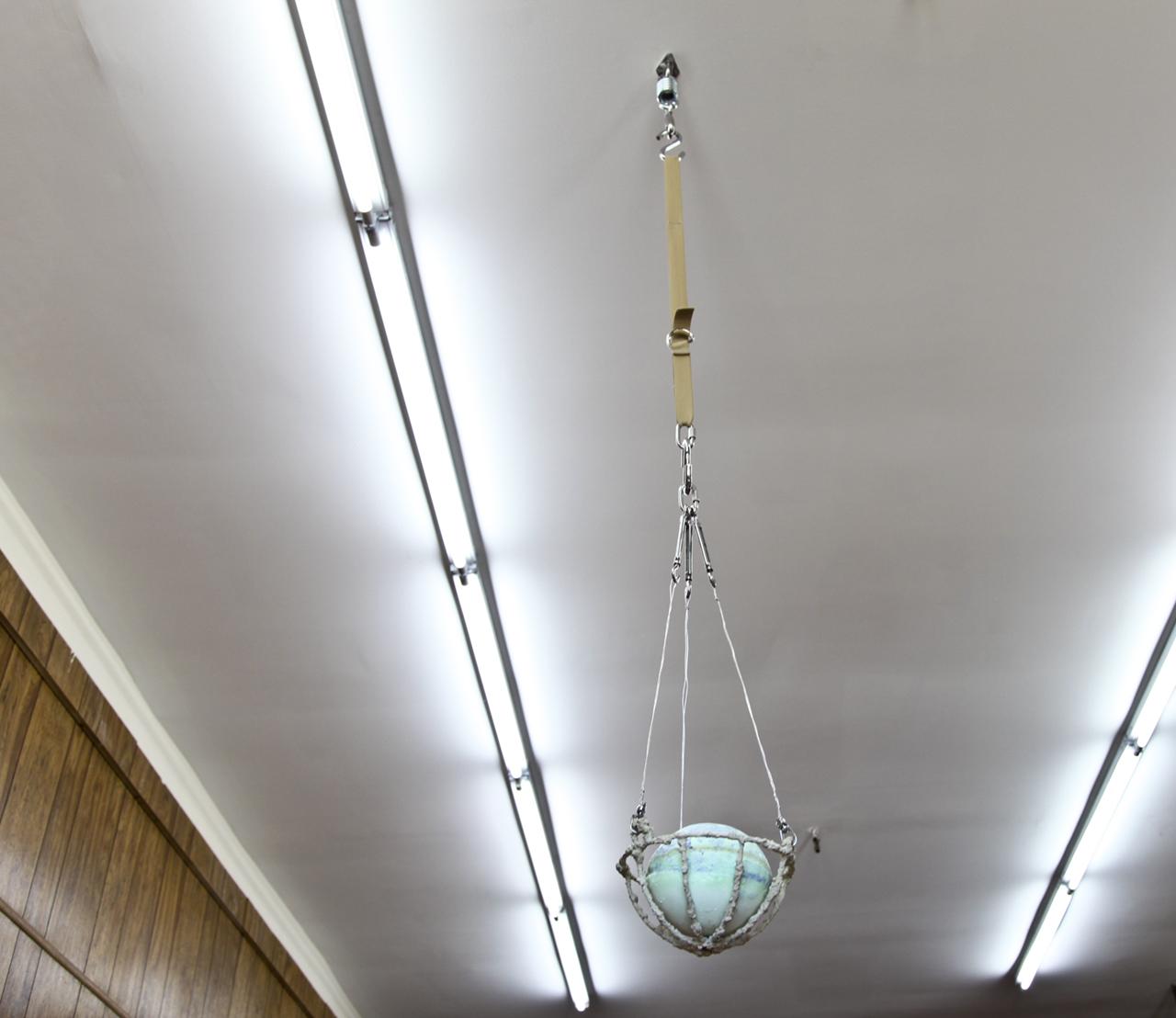 "Carly Mandel ""Cool Moisture"", 2018 12 x 12 x 64 inches Steel, Elastic, Concrete, Soap"