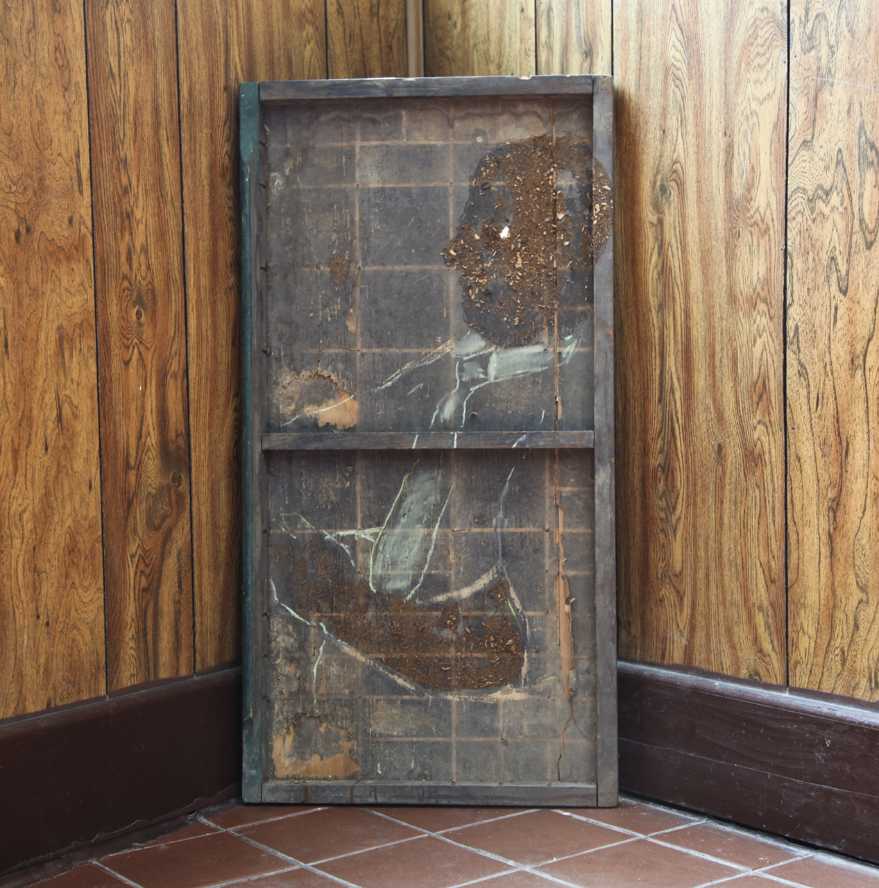 "Erlin Geffrard ""Work"" Tabacco, Chalk desk from Historically Black university. 24''X 36"" 2018"