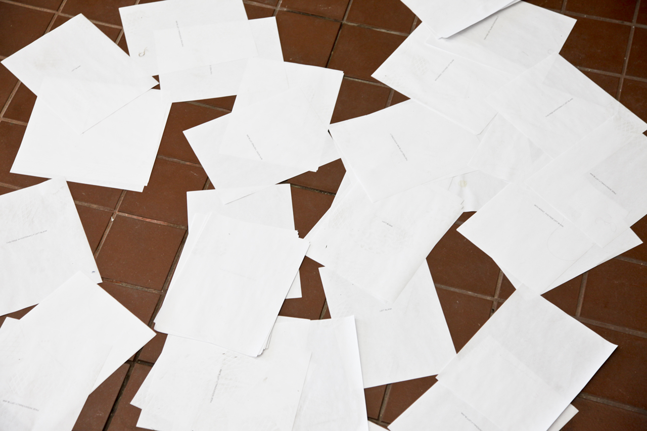 "Leah Mackin ""Left Blank,"" 2018 Photocopies, Variable dimensions."
