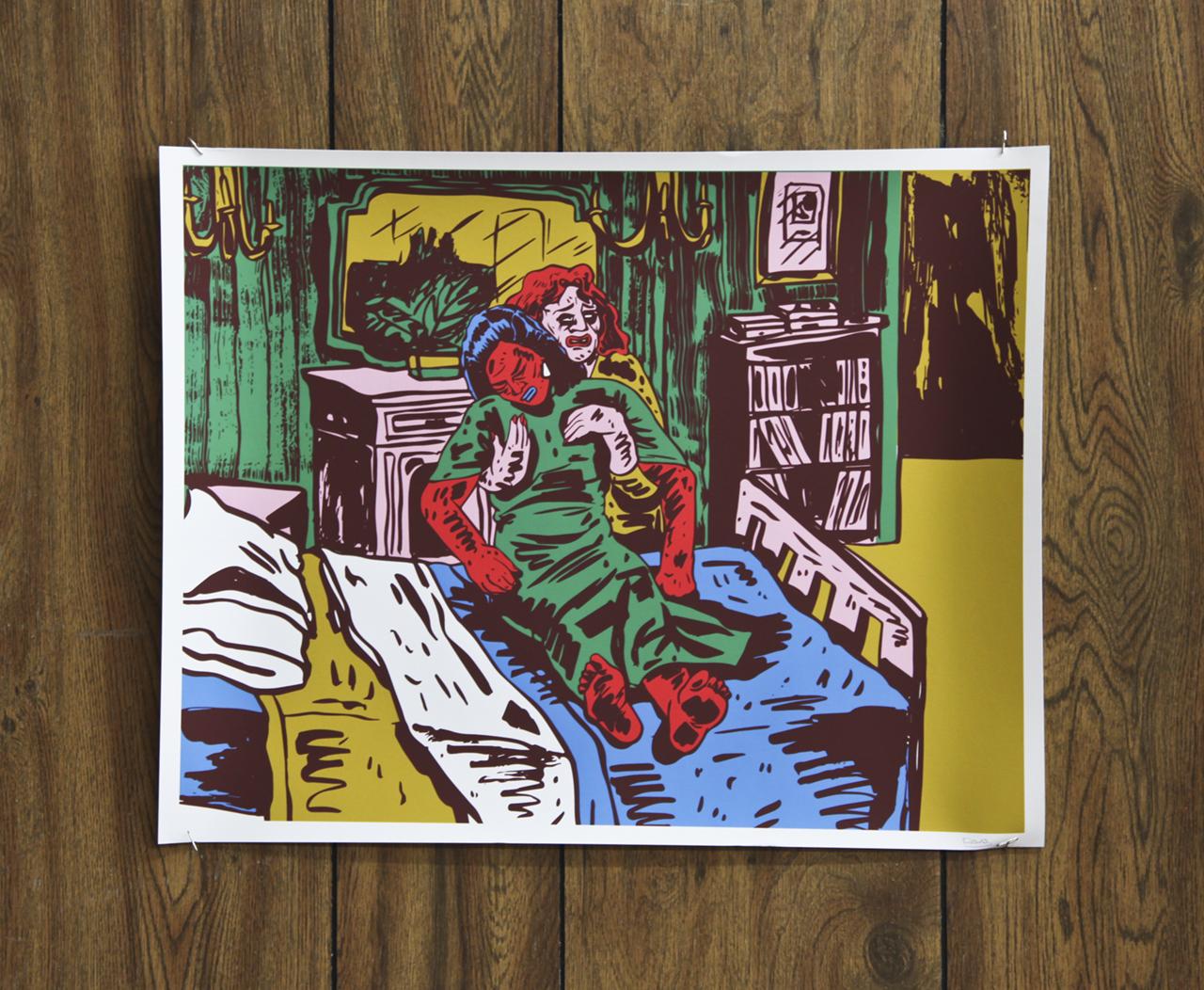 "Dana Paresa ""Helping Hand"" scanned ink painting, digital print on fine art paper 17 x 22in"