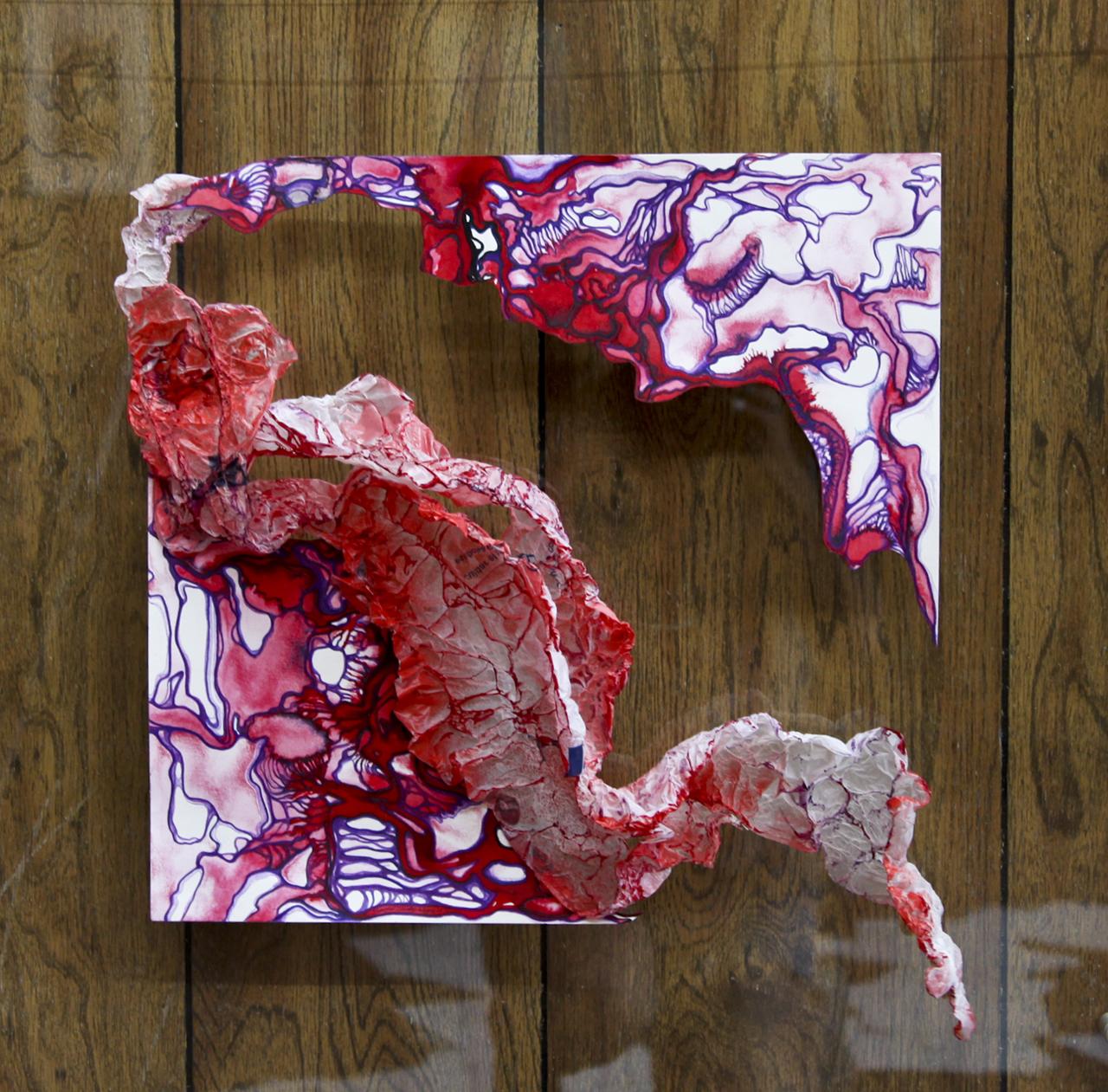 "Sarabel Santos-Negron ""Ganges"" Mix media and polyethylene on paper. 17"" x 16 1/2"" x 3 1/2"" 2016"
