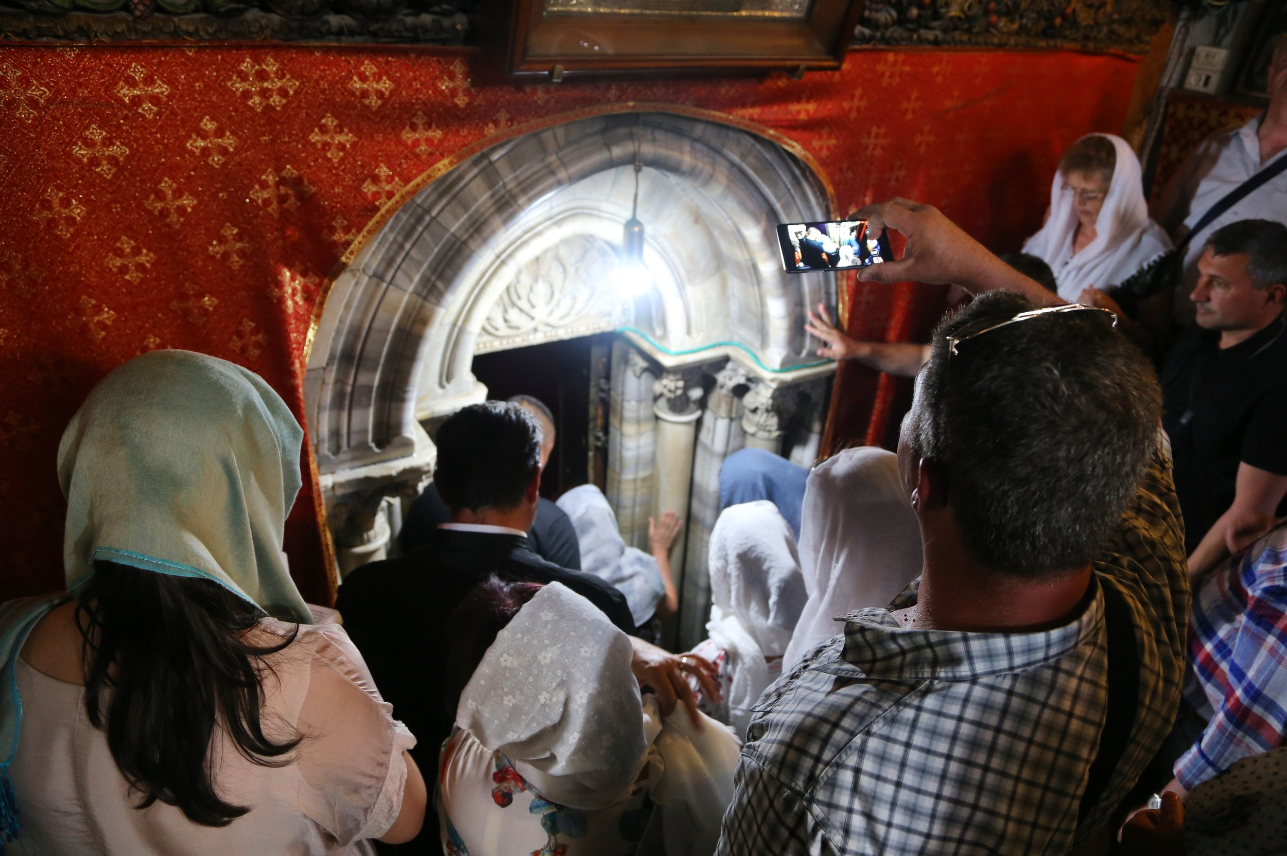 Crowds waiting to get into the lower level at the Church of the Nativity
