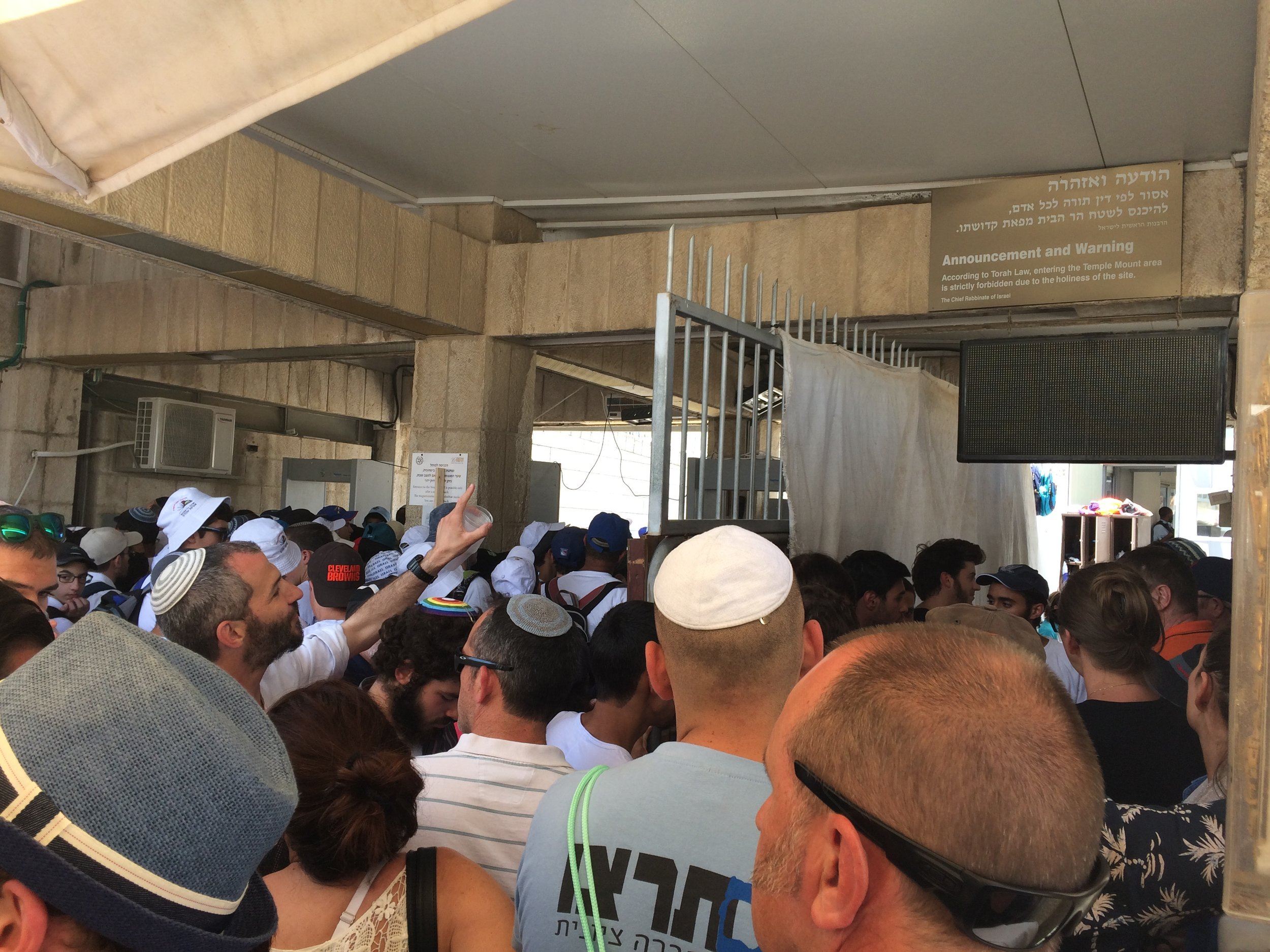 Israeli youth swarming the tourist line to get into the Noble compound on Jerusalem Day