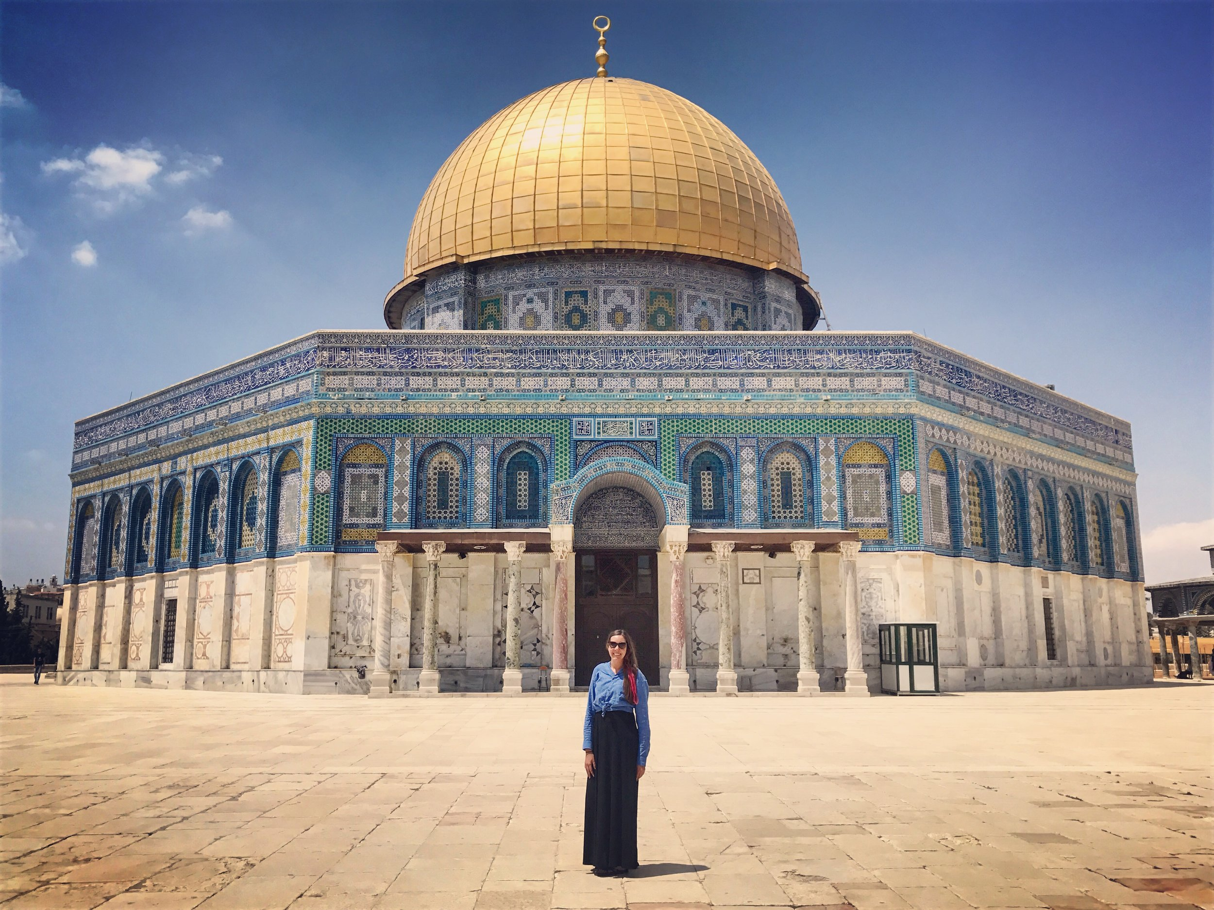 In front of the Dome of the Rock at the Noble Sanctuary compound in Jerusalem.