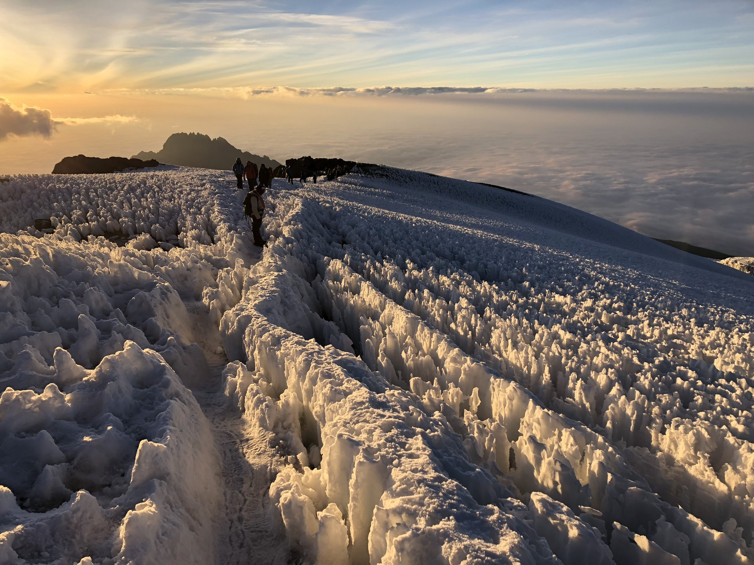 The trail on the summit at sunrise.
