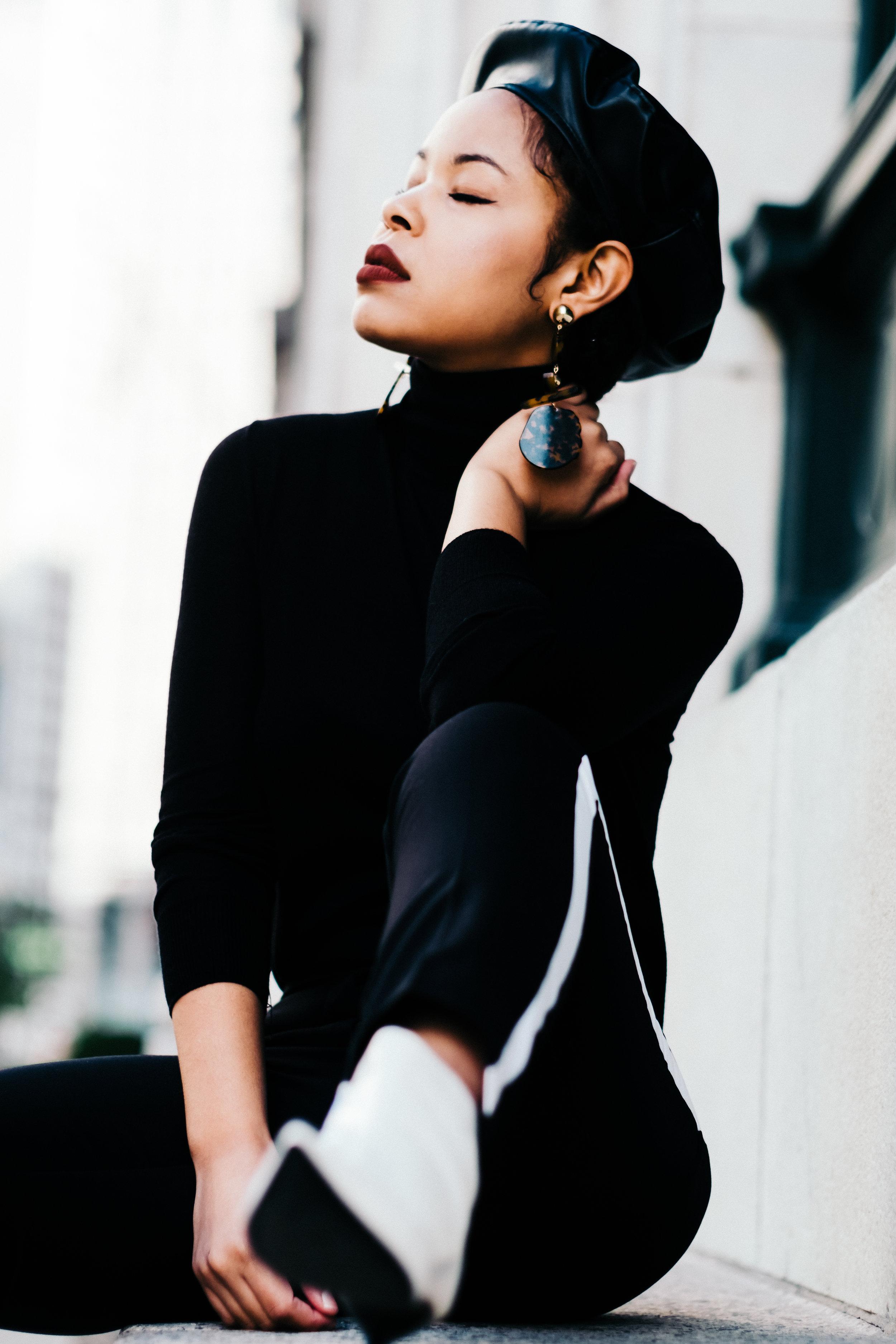 Turtleneck, Boots, &Beret: Zara/ Earrings: Asos