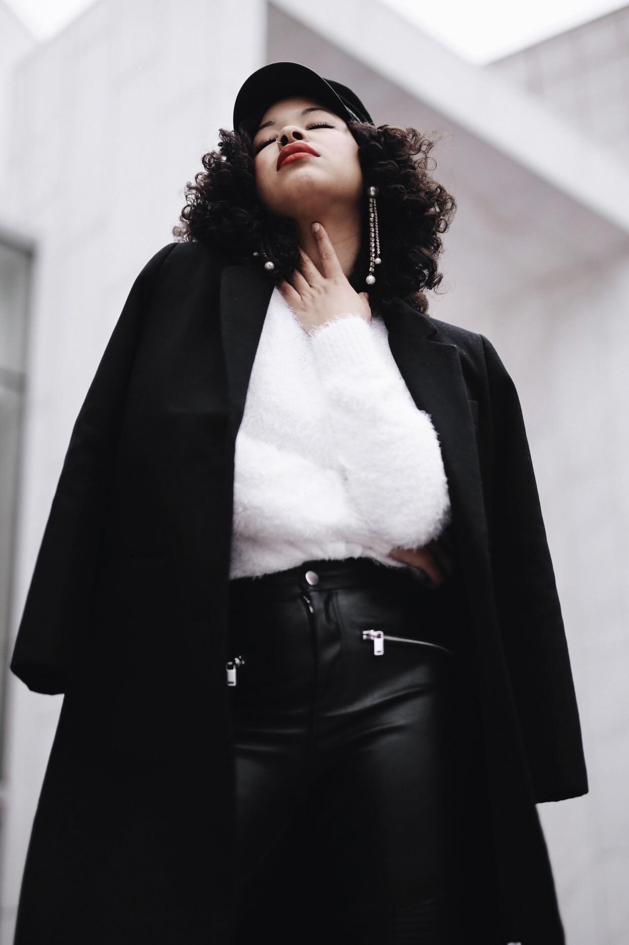 Earrings: Zara/ Coat: Oak and Fort