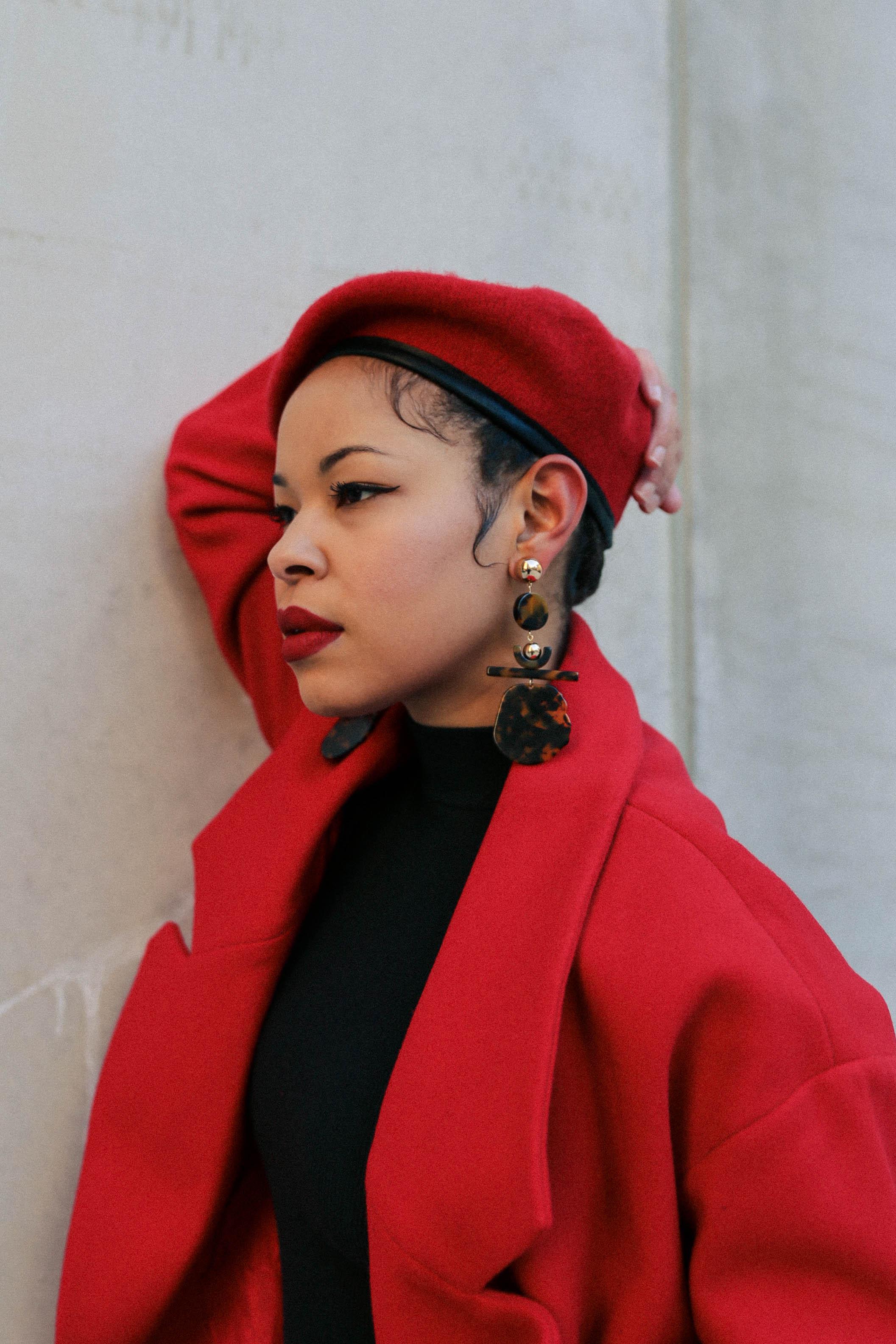 "Beret & Earrings: Asos/ Lipstick:Fenty Beauty's STUNNA lip paint in ""Uncensored"""