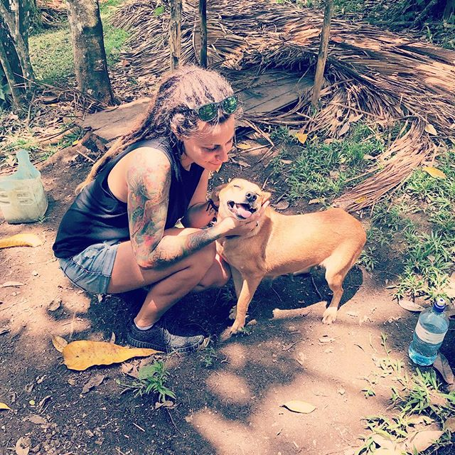 Who says dogs don't smile? 😍 Reunited with my friend in Belize. Can you tell we love each other? ❤️ - - - - #belize #dogs #friend #travel #instatravel #instadog #instagood #love #compassion #farmlife #dogsofinstagram #peacework #dog #animallover #traveler #happiness