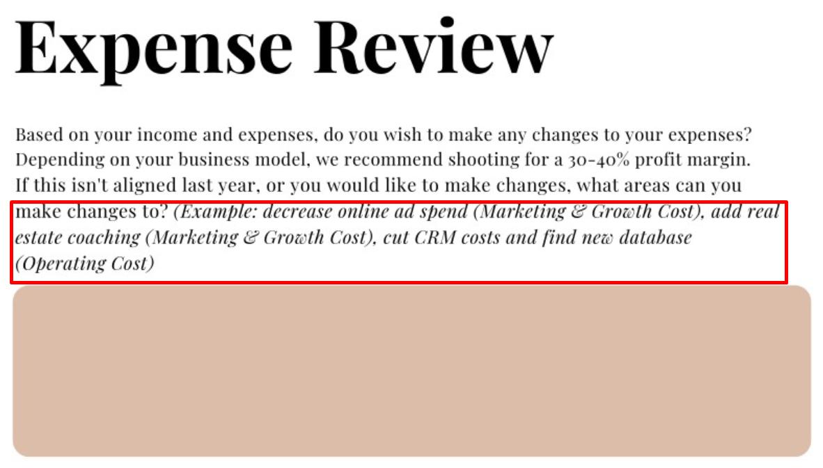 Realtor expense review