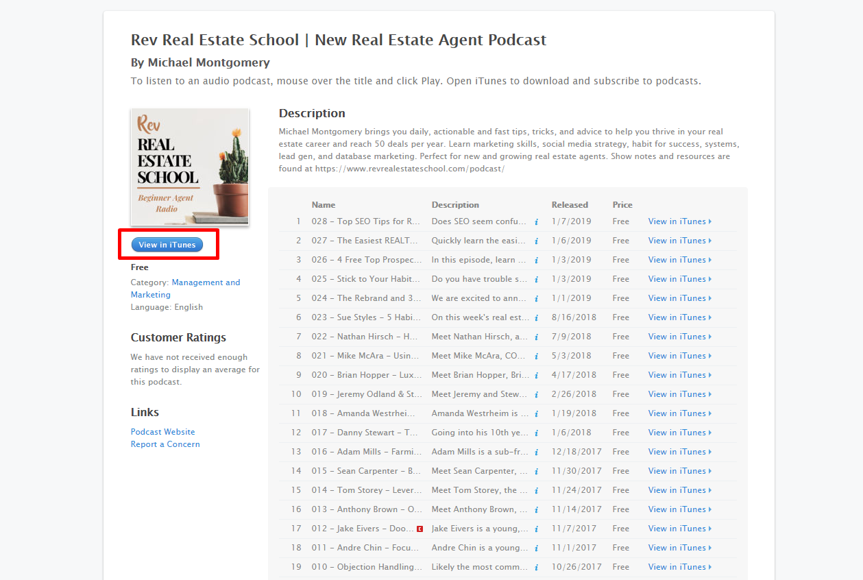 """Click the """" View in iTunes """" Button"""