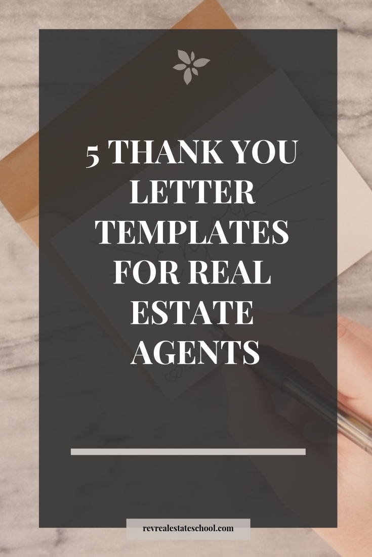 5 Thank You Letter Samples For Real Estate Agents Rev Real