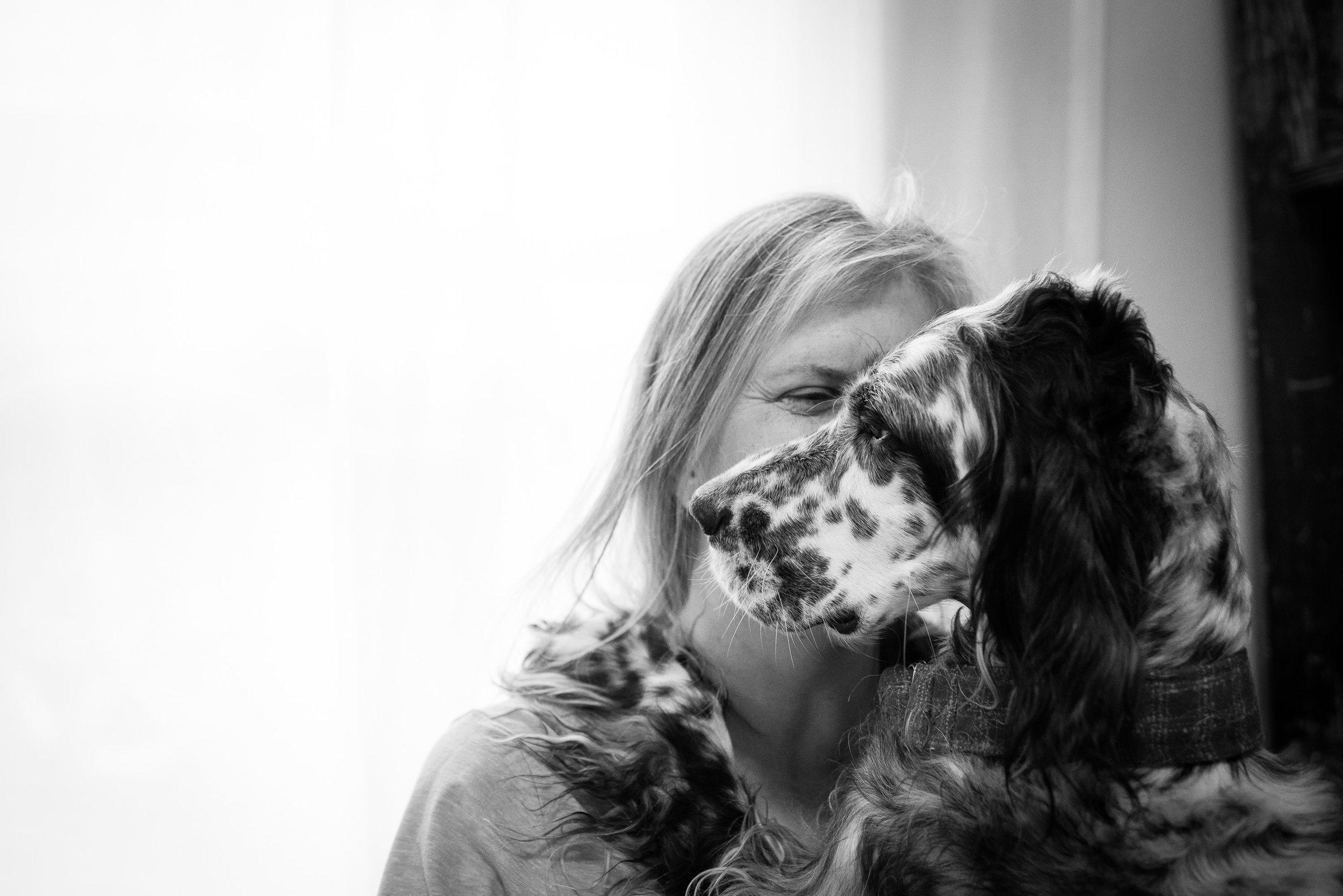 dog hugs with Paula Sara