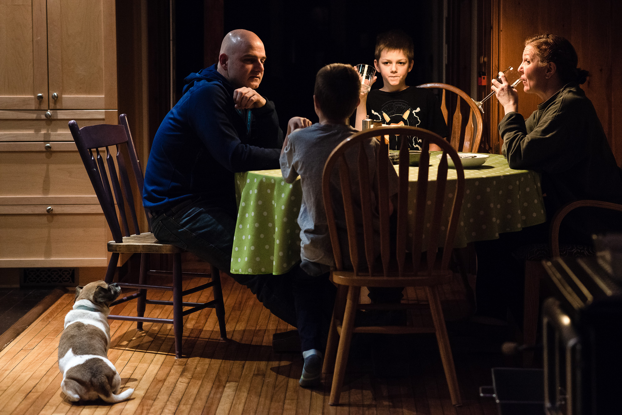 family eats dinner on a quiet January evening