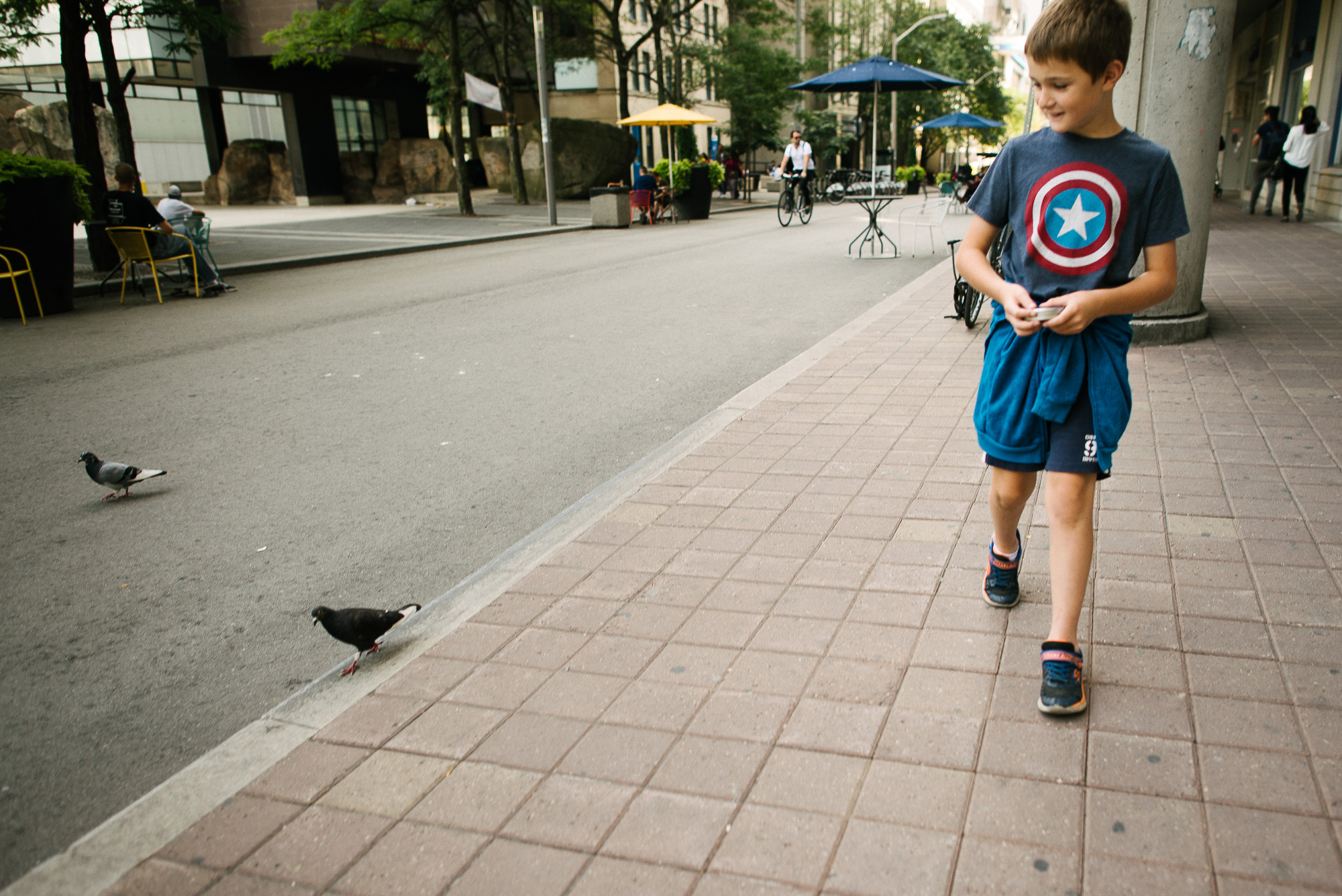 boy looks at pigeons on Victoria street in Toronto