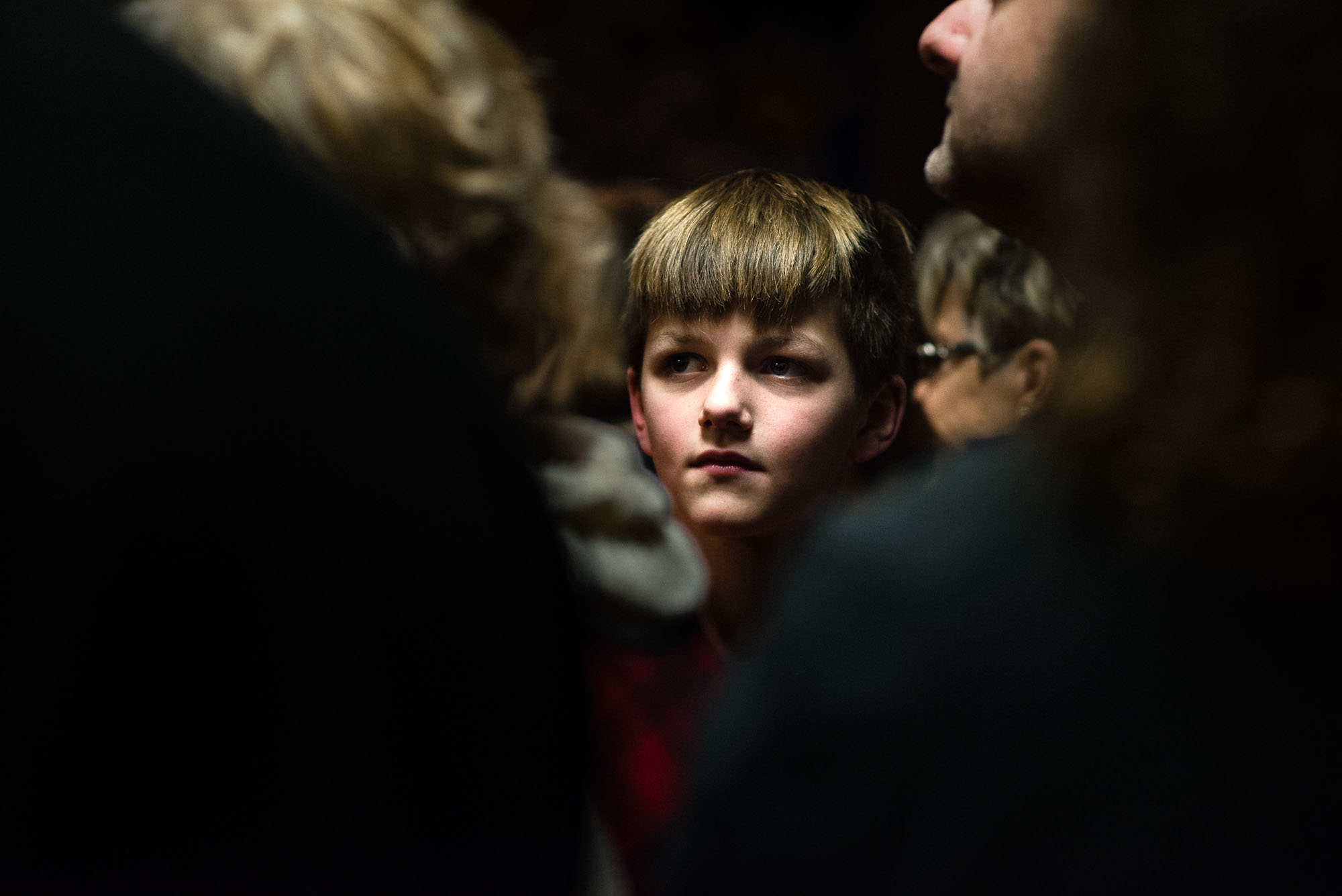 portrait of a boy in the crowd