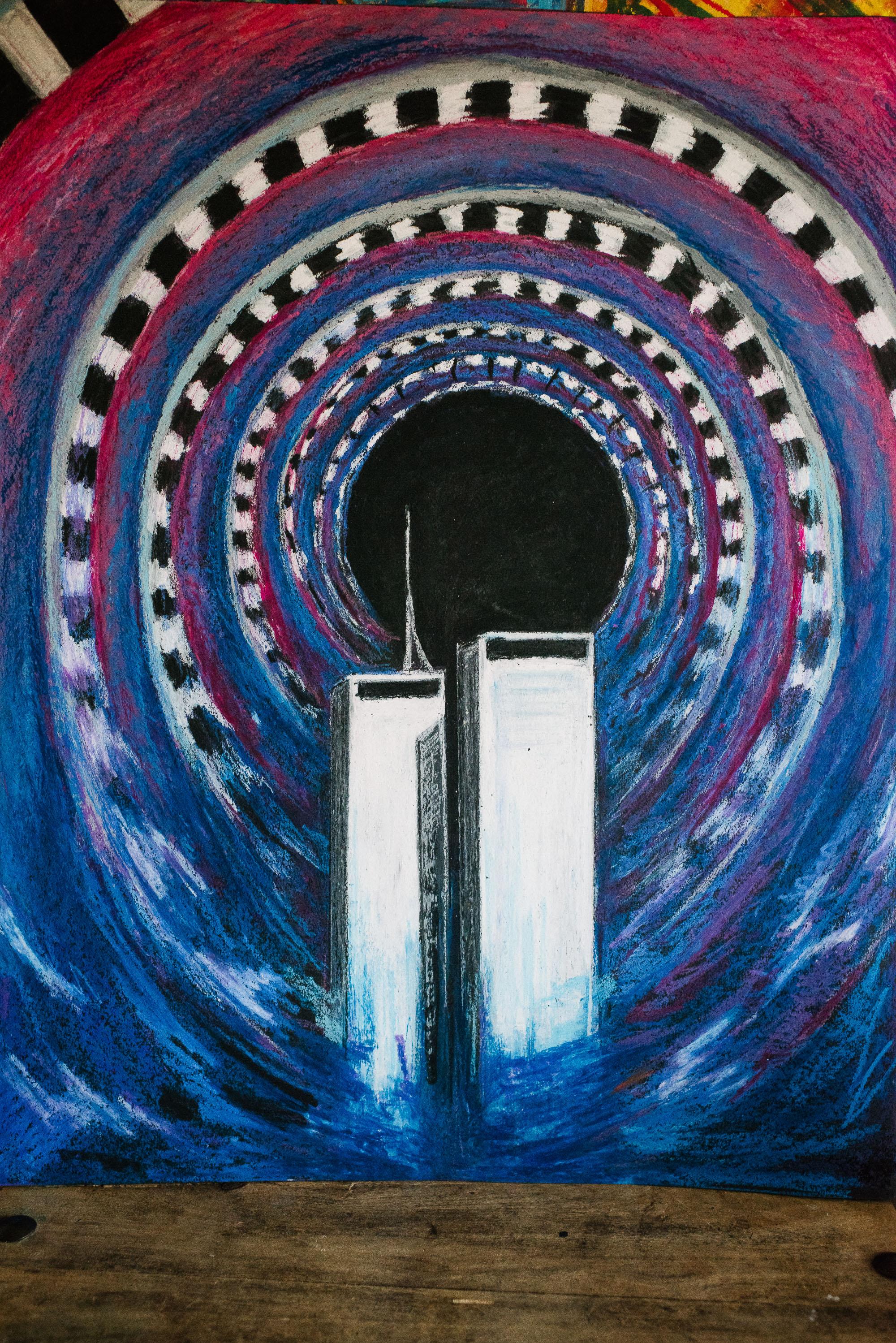 twin towers in a tunnel ap art viara mileva