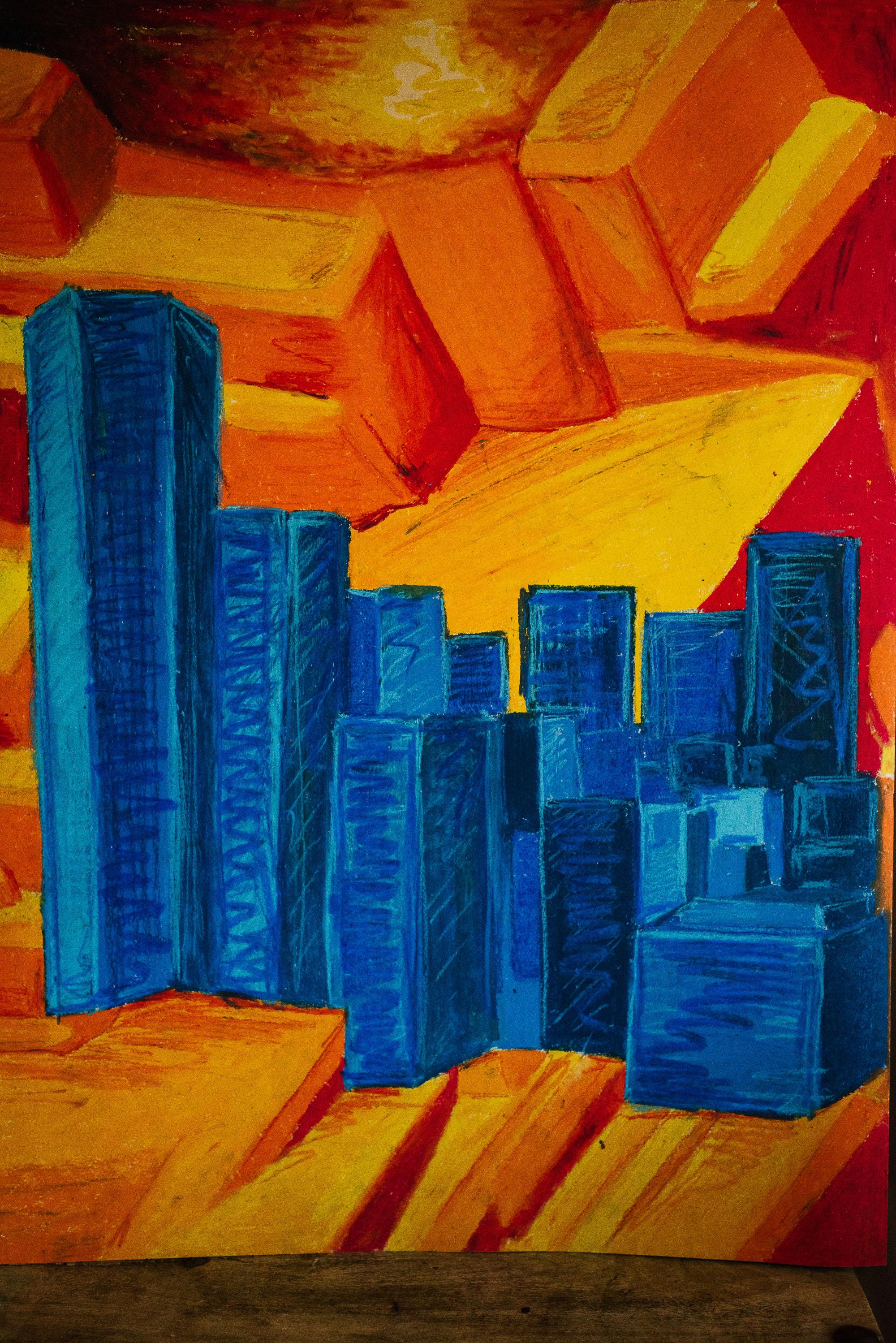 blue buildings on orange silicon backdrop ap art viara mileva