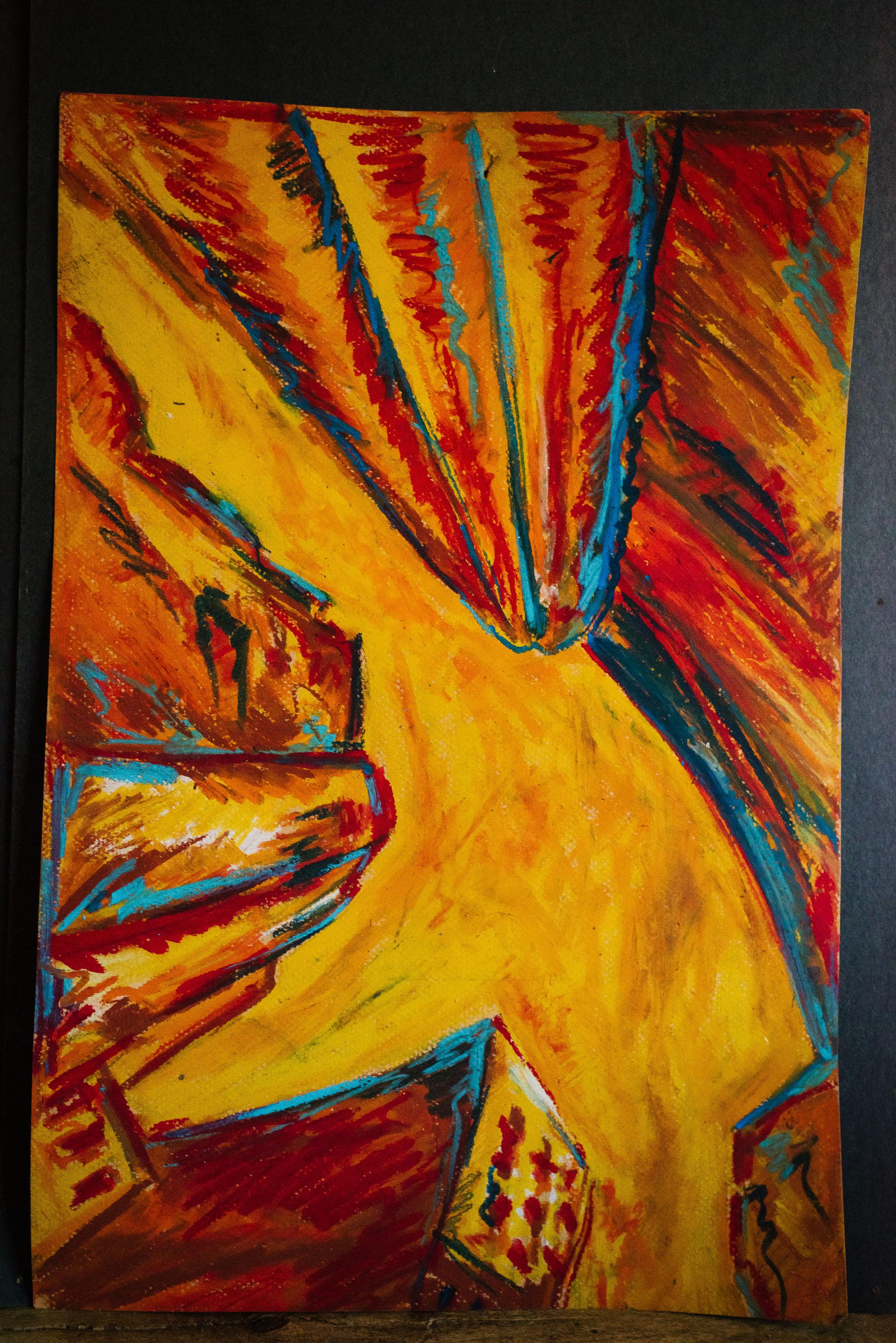 orange red buildings and yellow sky ap art viara mileva
