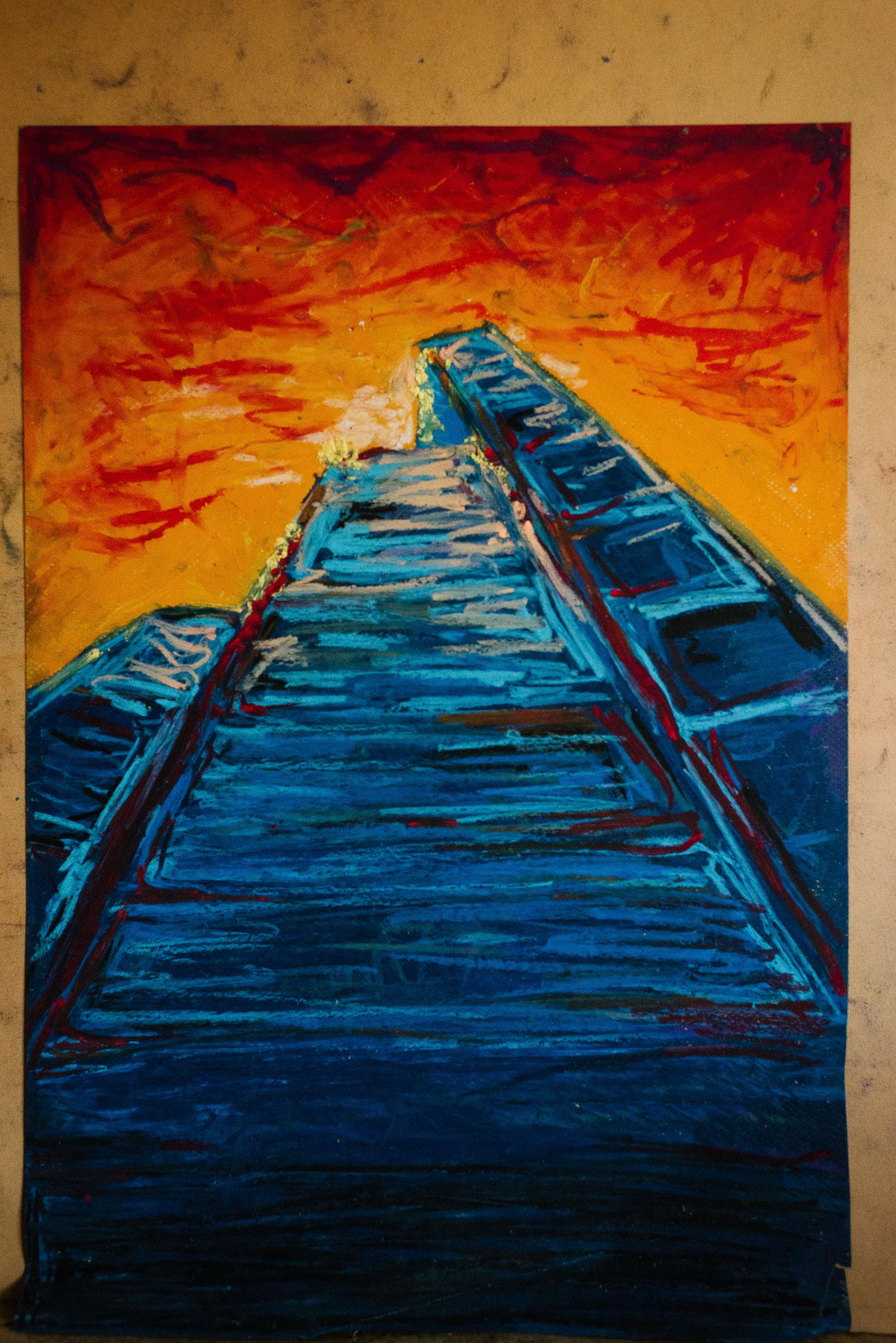 tall blue buildings yellow red sky ap art viara mileva