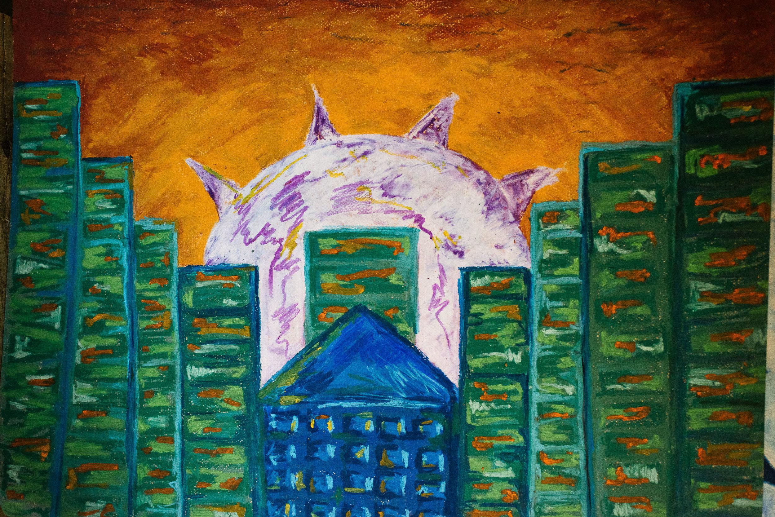 green buildings purple sun ap art viara mileva