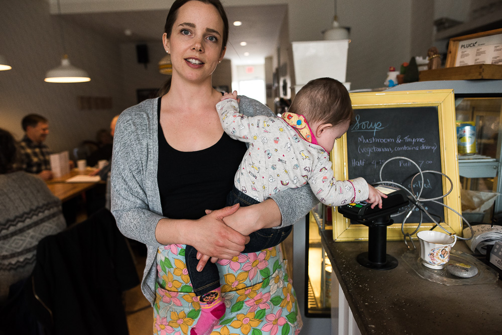 Elm Cafe owner Logan with her daughter