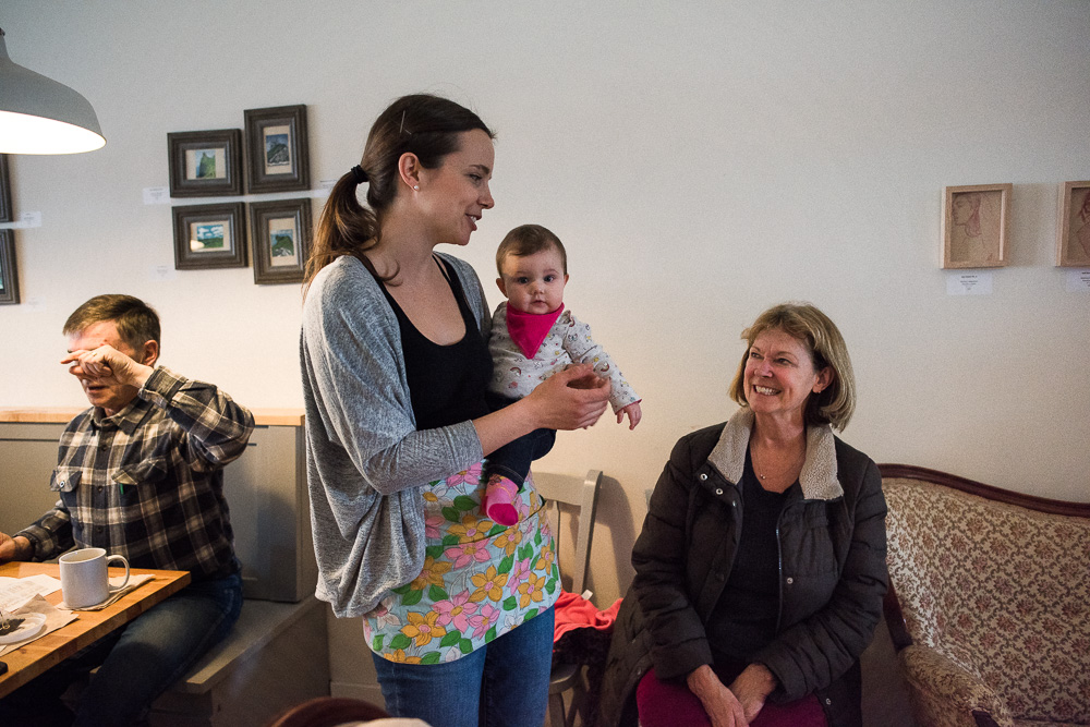 Elm Cafe Owner Logan with her baby and mother