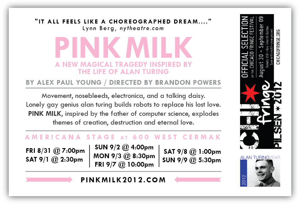 PINK MILK  - Back of Postcard