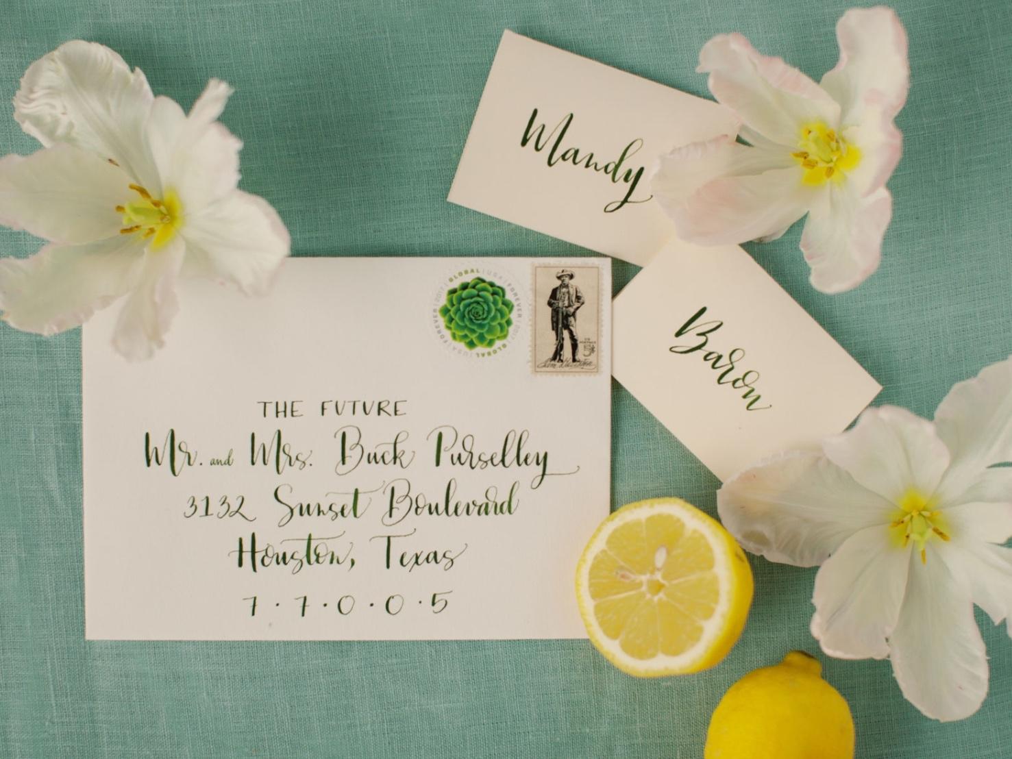 spring themed wedding invitation with lemon motif