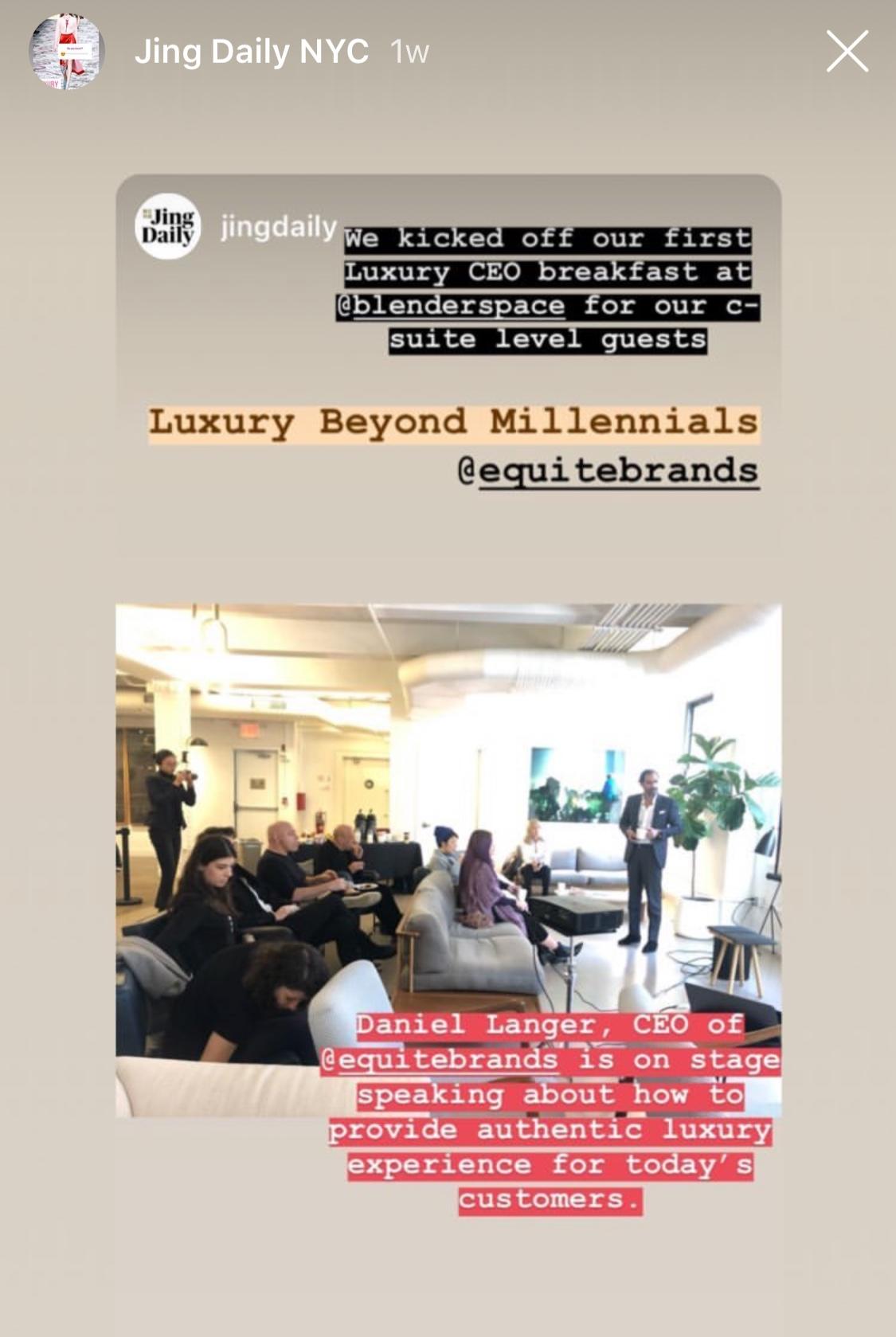 Daniel Langer Jing Daily CEO Breakfast Luxury Beyond Millennials