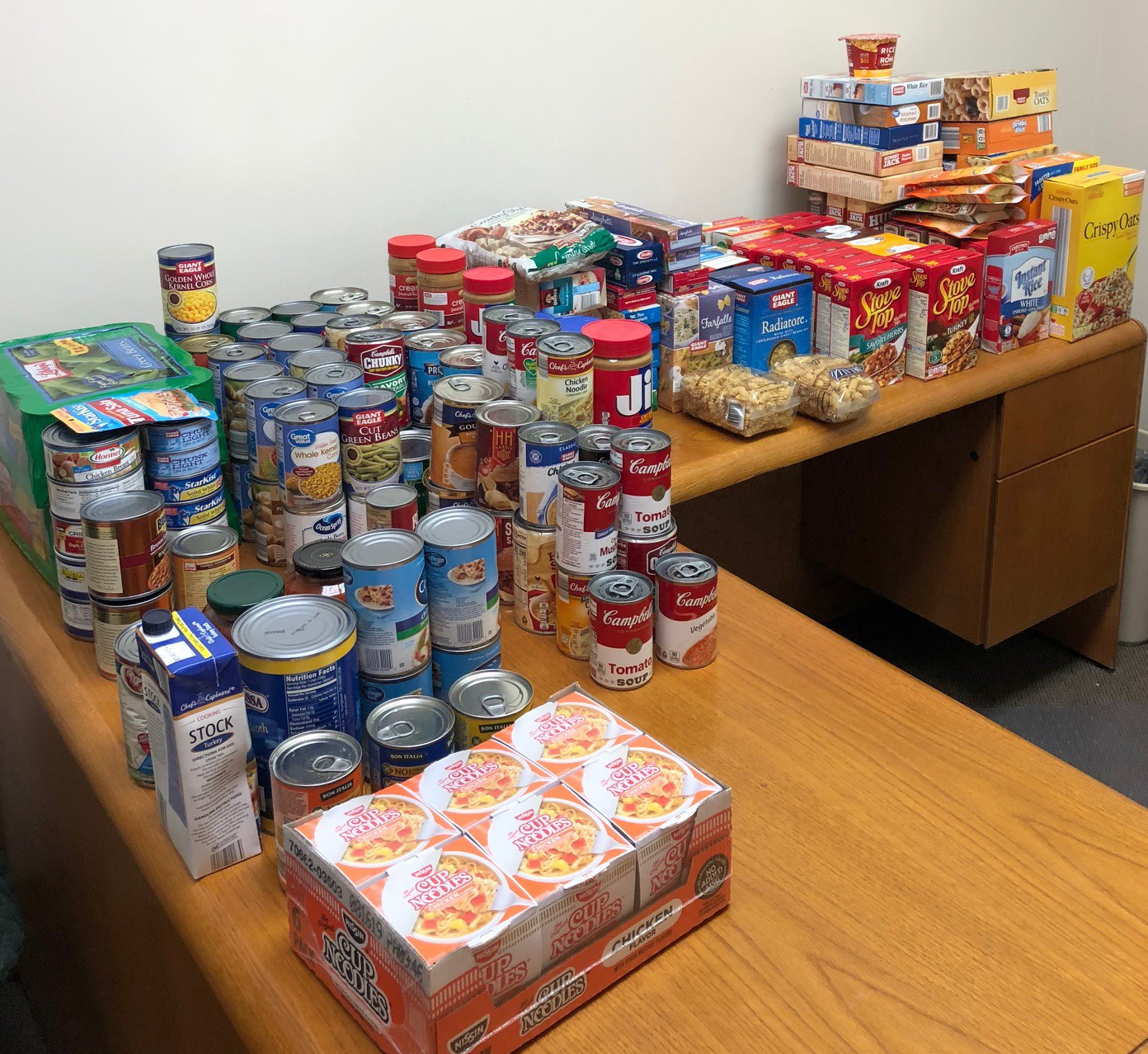 A portion of the nearly 370 Thanksgiving grocery items donated by Intervala team members during our 2018 fall food drive.