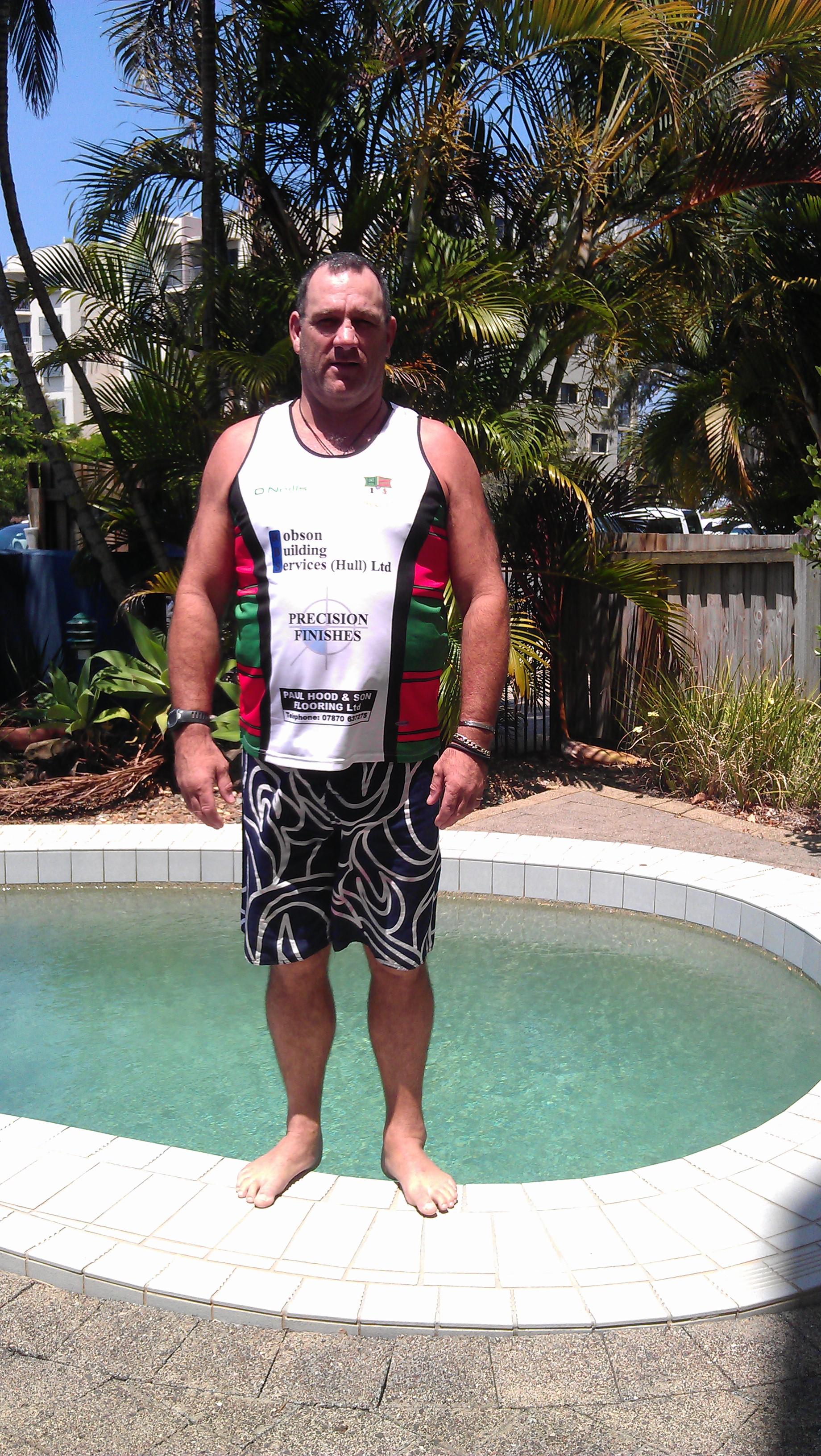 Chris Lloyd wearing a Myton Warriors training top in New Zealand.