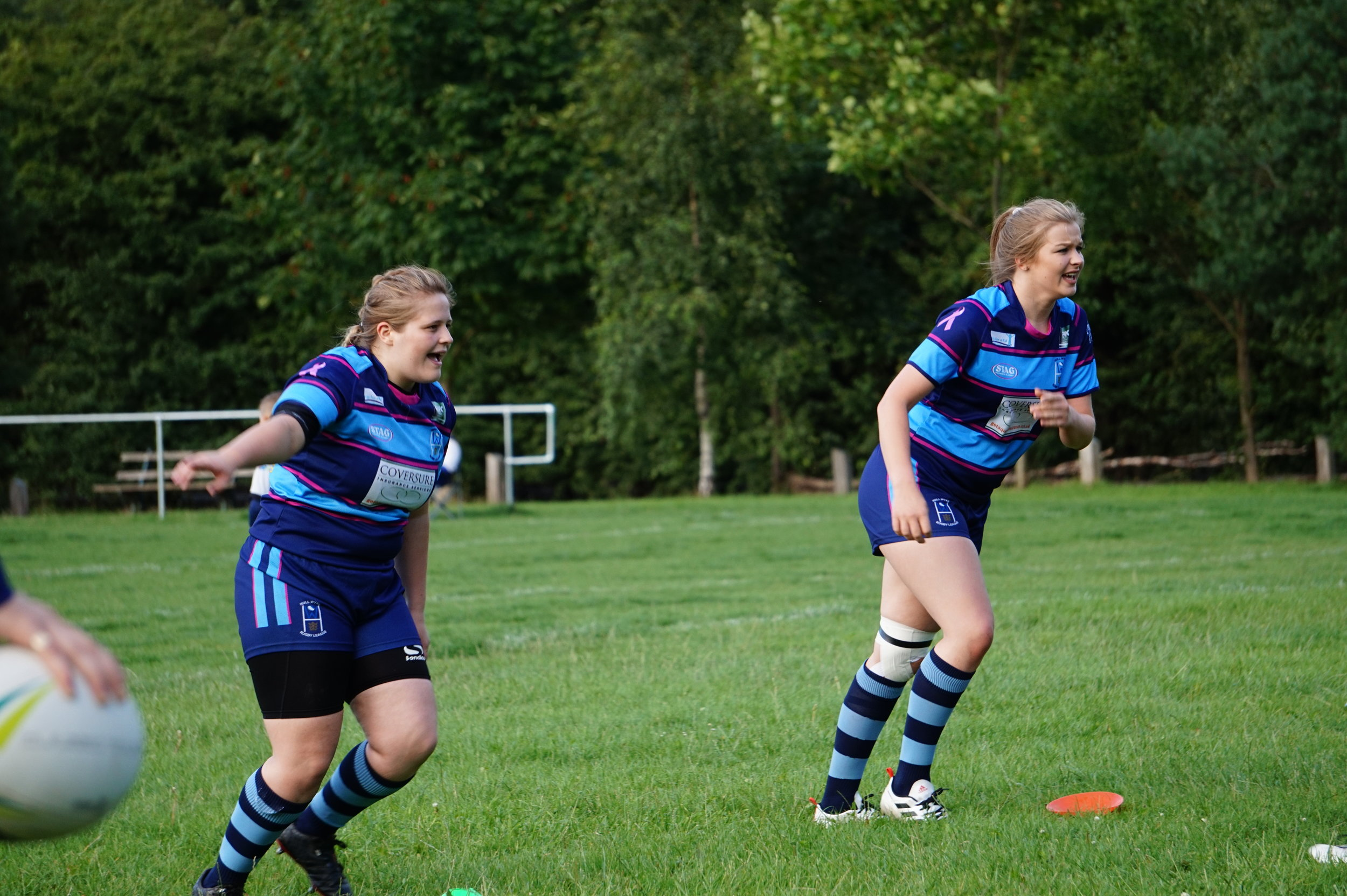 Magson (right) warming up for Hull Wyke Ladies