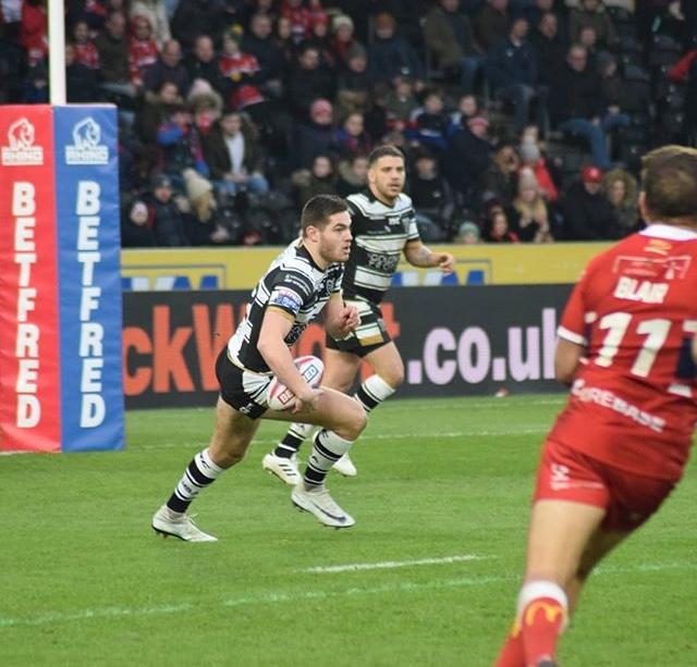 Jack Sanderson in action for Hull FC vs Hull KR