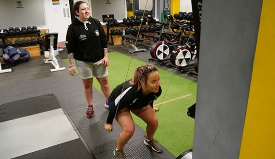 Ruby Adkins (right) training at Hull FC's county road facility.
