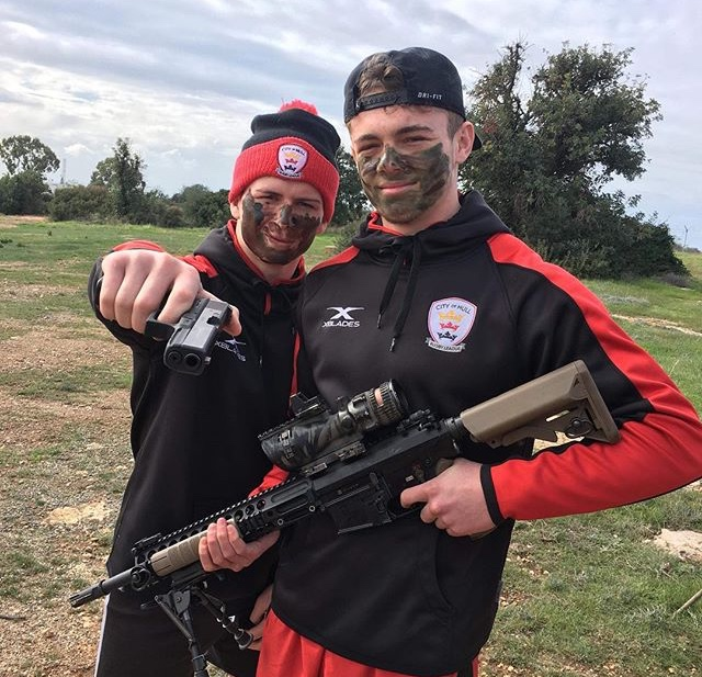 Elliot Wallis (right) during the city of Hull training camp in Cyprus
