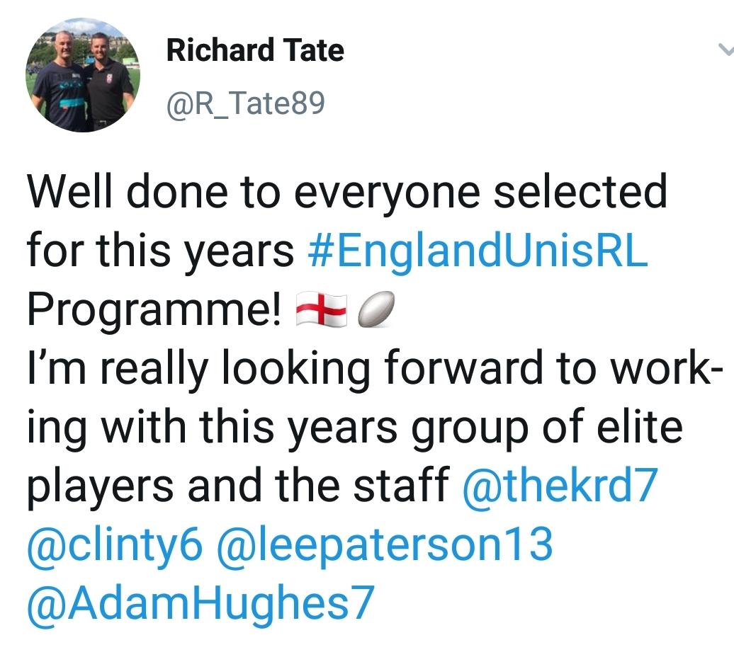 Tweet from England Uni Coach Richard Tate.