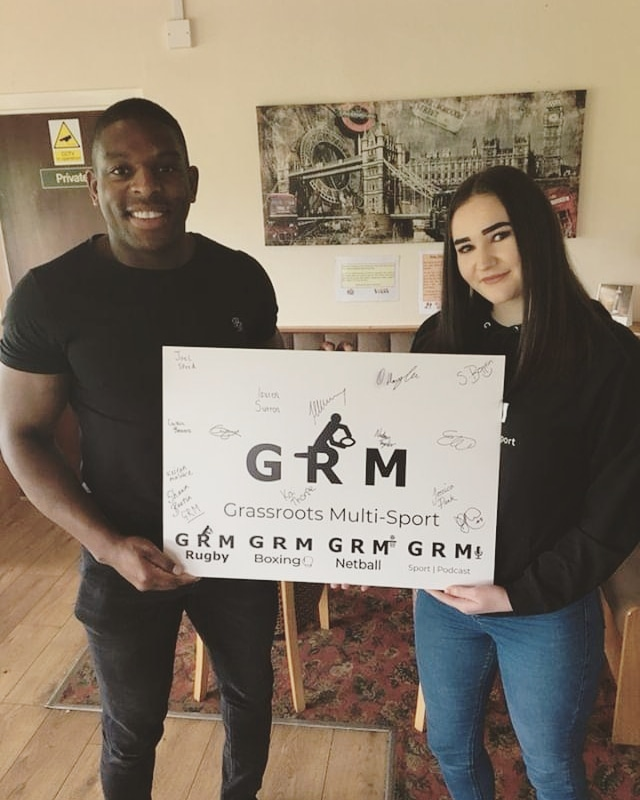 GRM SPORT's Podcast presenter Lauren Sutton and England international Jermaine McGillvary