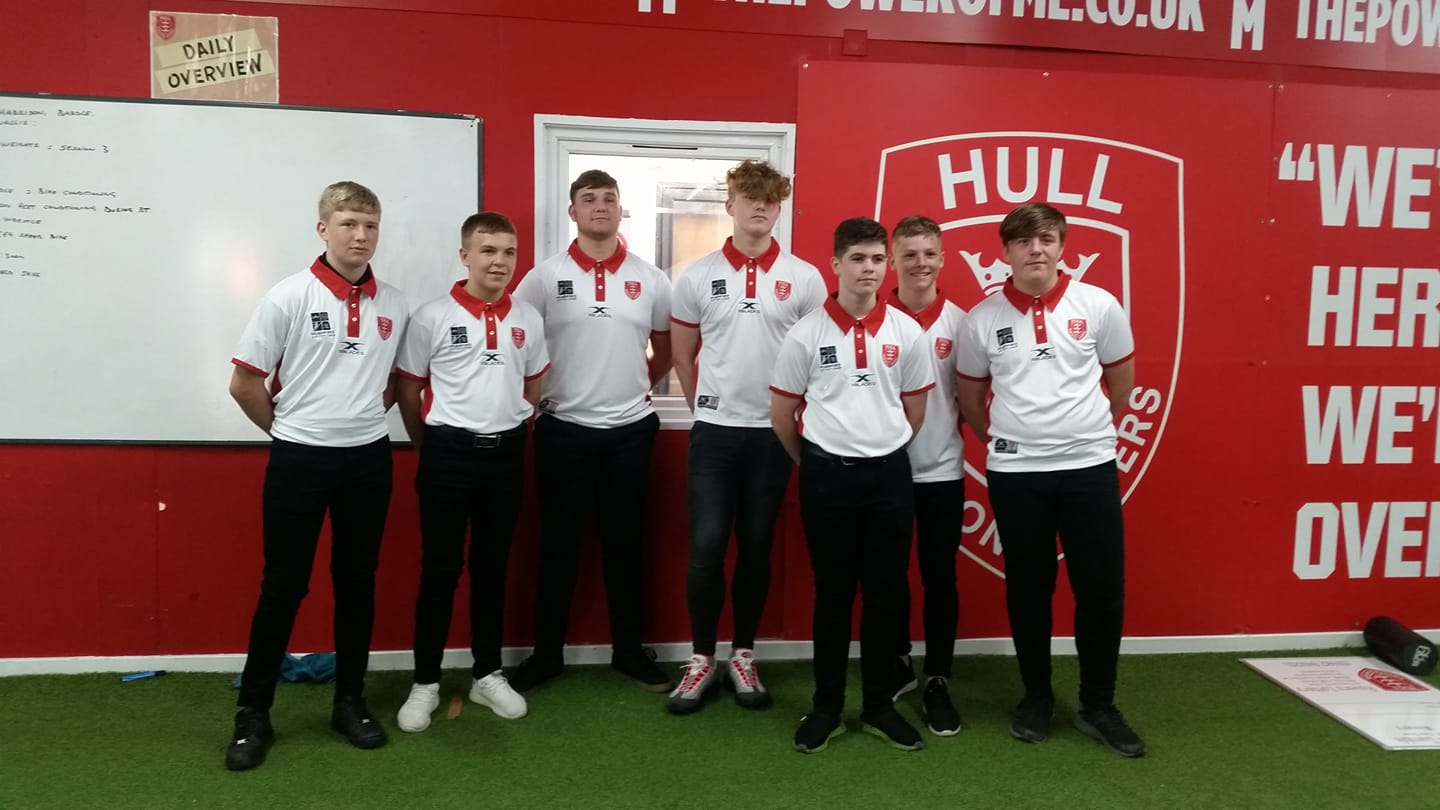 Connor Barley with his Skirlaugh teammates upon signing for Hull KR