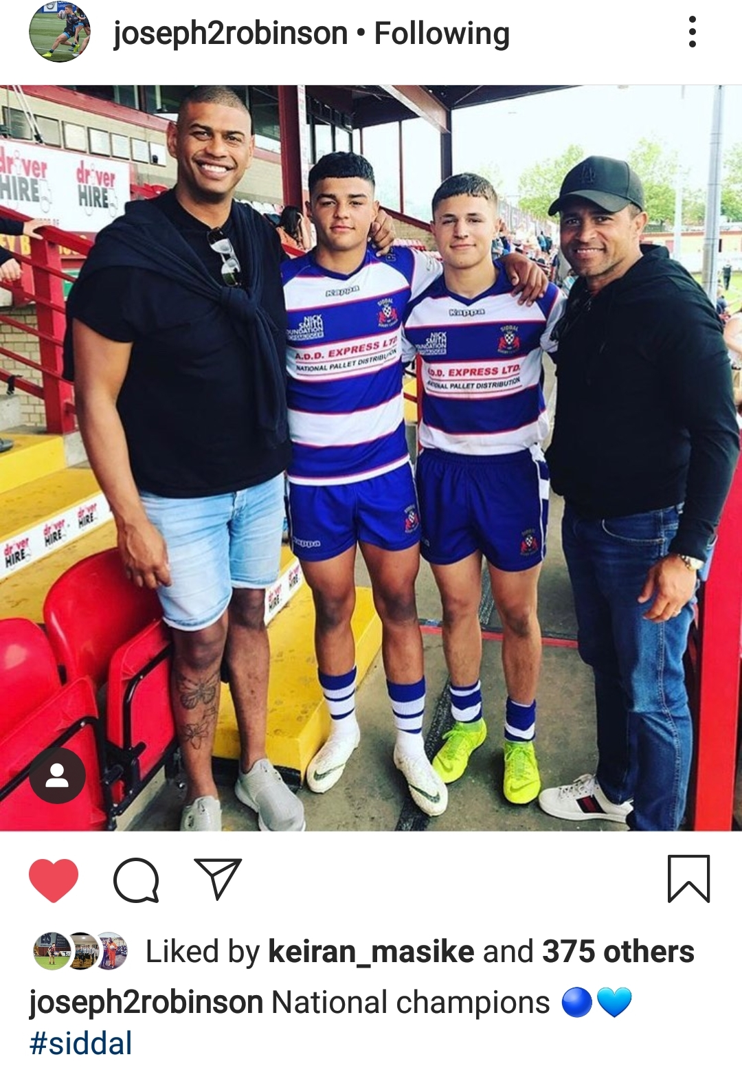 Rugby legends. Joseph Robinson posted this photo after the national cup final with his dad, team mate Will Pryce and Will's father Leon Pryce who is also a global rugby figure.