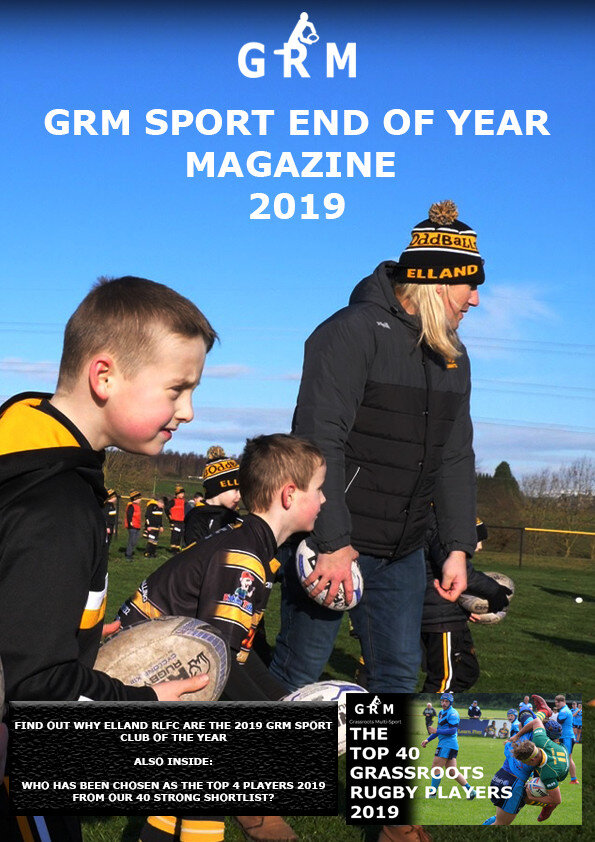 Huddersfield Giant's Legend; Eorl Crabtree lines up with Elland Juniors in a game of touch on this year's front cover of the GRM SPORT end of year magazine!