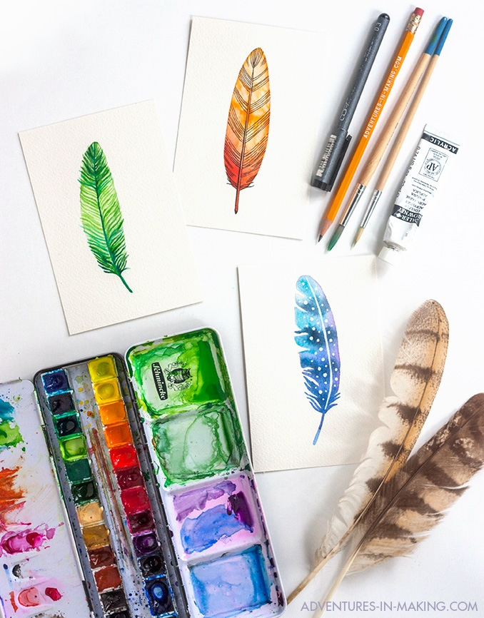 3 Ways To Paint A Watercolor Feather