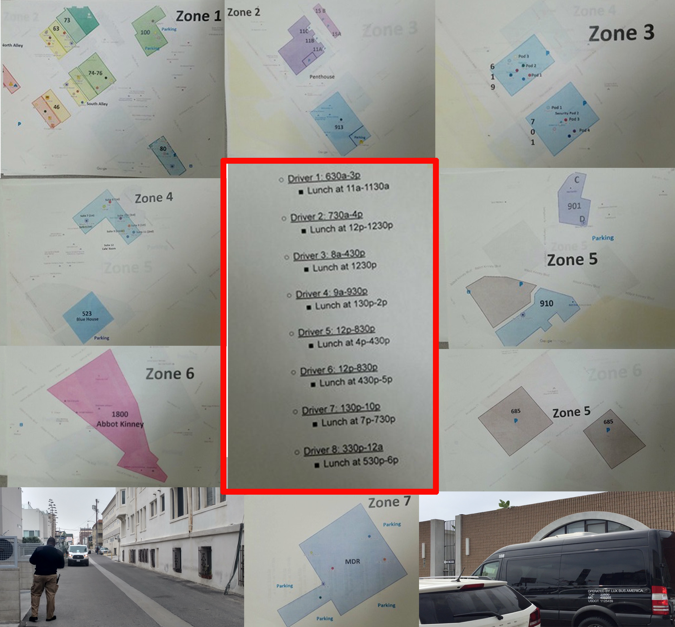 544 van trips across Venice each day - Snap has 8 vans driving 17 hours a day!Vans arrive at stops approx every 15 minutes (we timed it at Brooks + Speedway). This is too much for our small town!Snap breaks Venice into 6 Zones with Zone 7 for parking in Marina Del Rey. This van schedule that was found laying around Venice.
