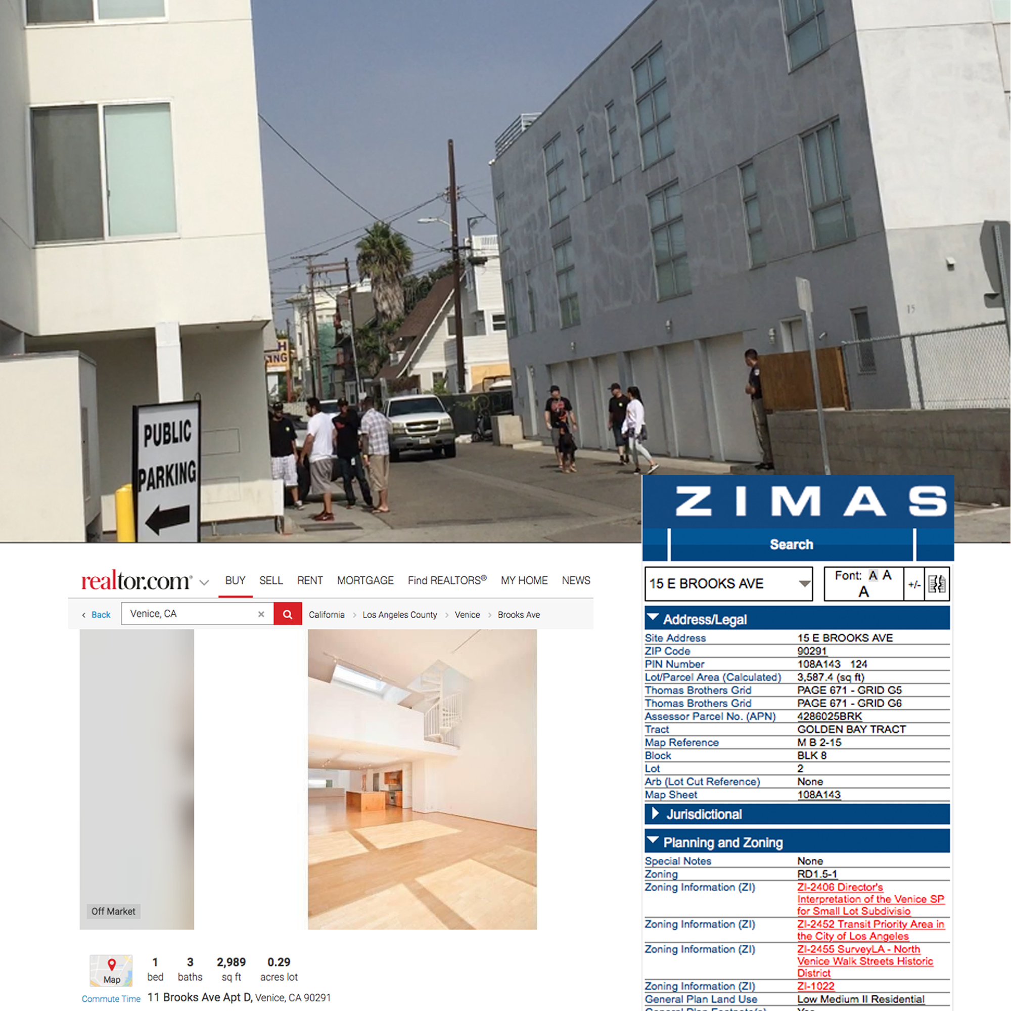 Illegal use of apartments as offices - 15 Brooks Zoned 100% Residential (Single-Family Residential or Mutli-Family Residential)but Snap uses it 100% as their corporate office. Click here for ZIMAS11 Brooks are 1 bedroom apartments as shown at realtor.com