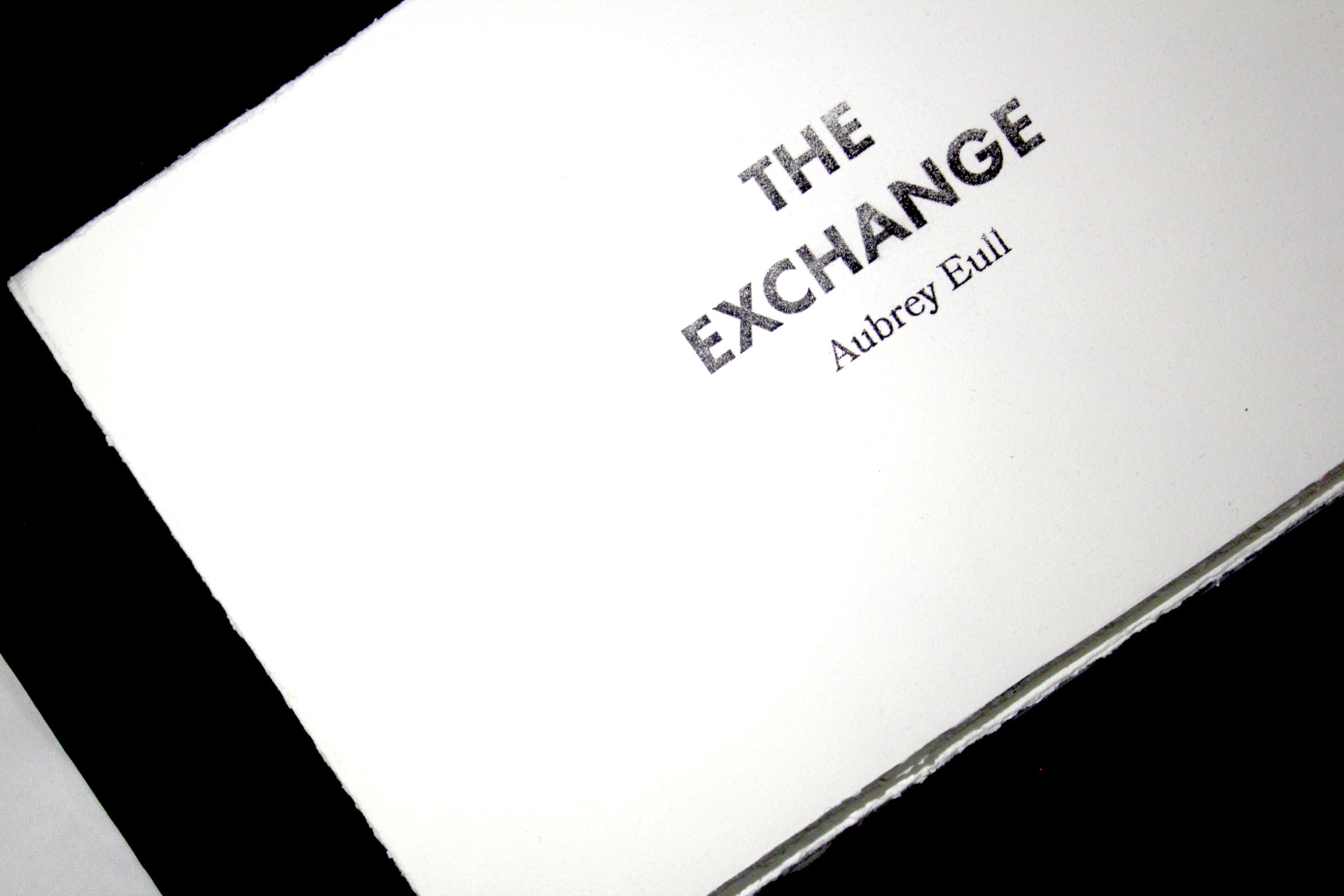 The Exchange  is personal poem, illustrated in pen and ink with red thread detailing.  Describing the perils of naive love, the red thread grows as the chaos of the relationship unfolds. The accordion fold style book is sewn into a large black envelope that serves as the books cover.