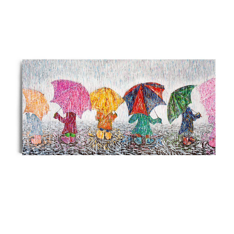 "The Umbrella Kids. 24""x48"" Acrylic on Canvas"