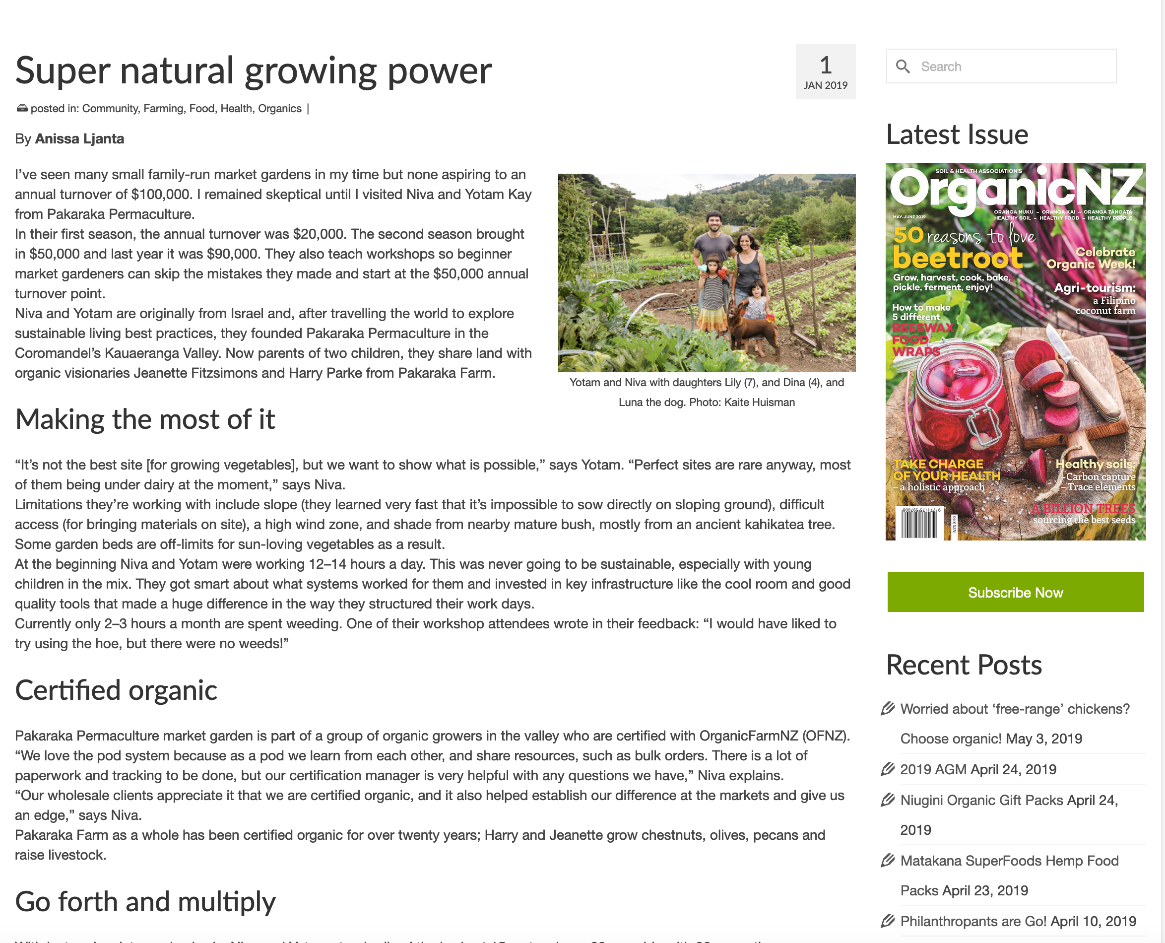 Super natural growing power- Organic NZ article by Anissa LJanta